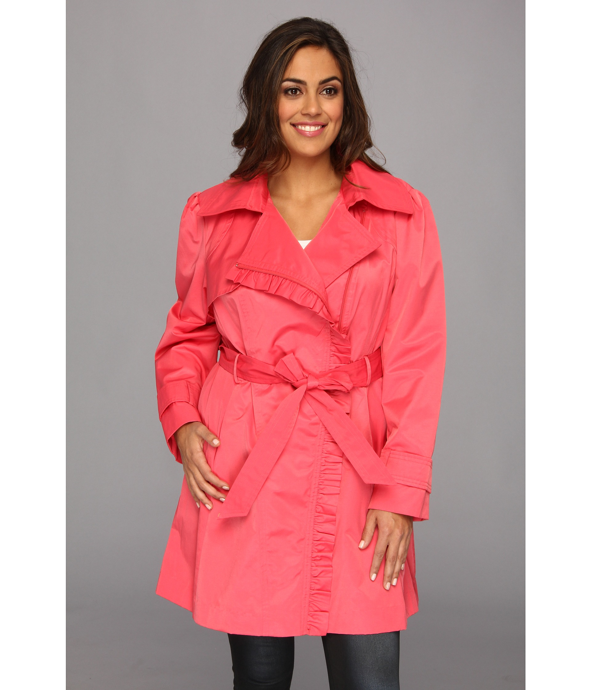 c12a33d64aeb5 Lyst - Jessica Simpson Plus Size Ruffle Trim Belted Trench Coat in ...