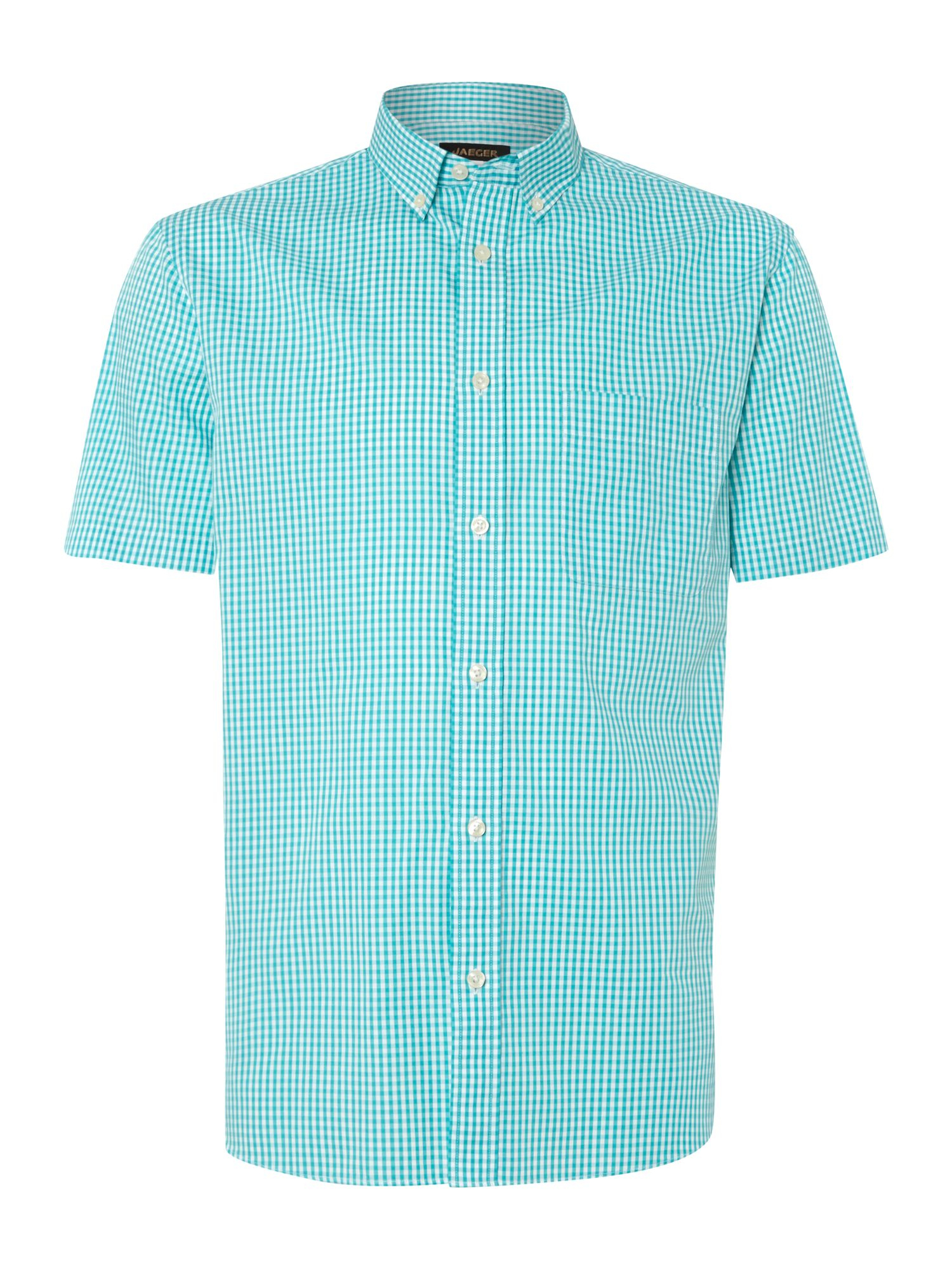 Jaeger Gingham Short Sleeve Classic Collar Shirt In Green
