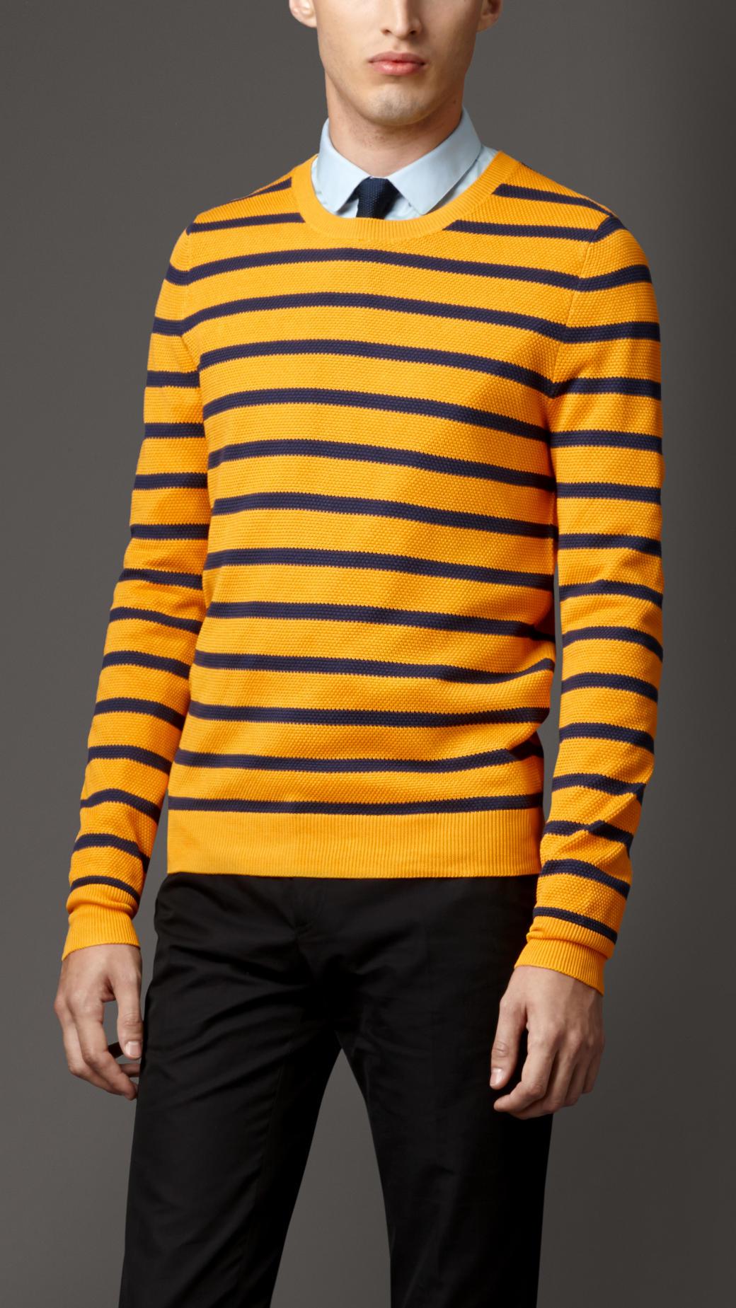 Burberry Striped Silk Knit Sweater in Orange for Men | Lyst