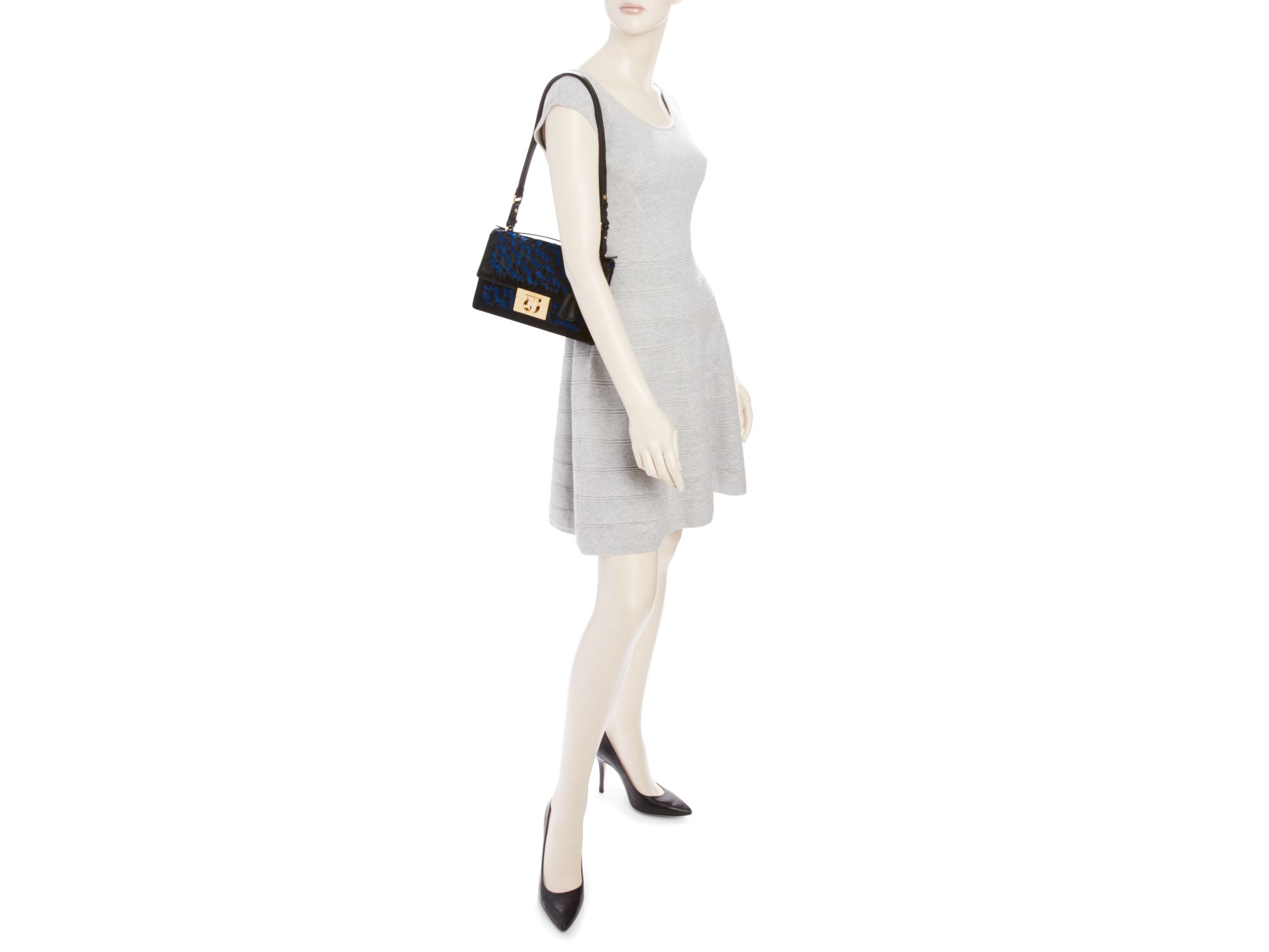 b807f74e4746 Lyst - Ferragamo Aileen Medium Interwoven Calf Hair Shoulder Bag in ...