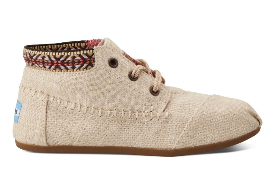 toms burlap trim womens tribal boots in beige for