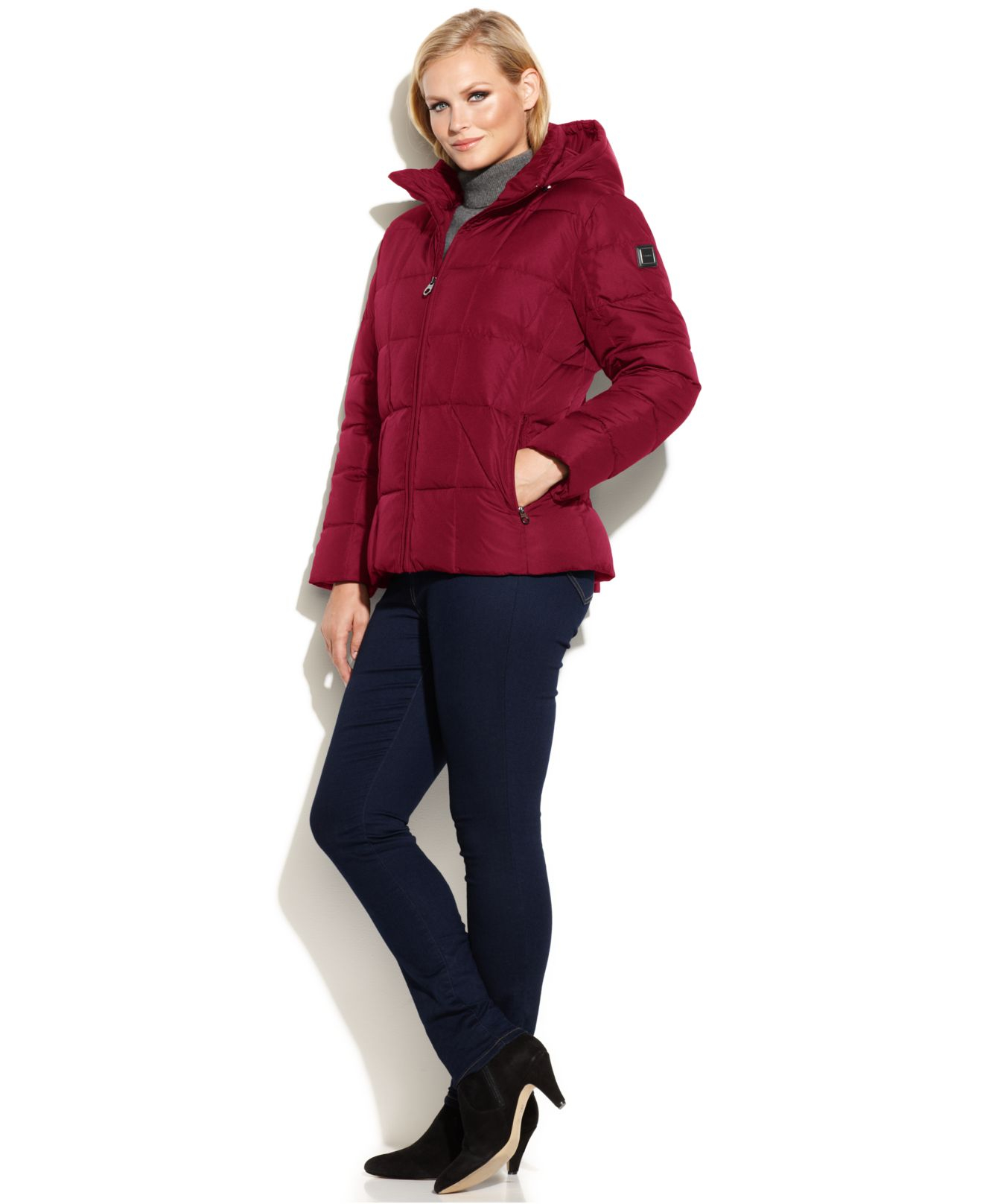 fbf97582412 Lyst - Calvin Klein Plus Size Hooded Quilted Down Puffer Coat in Red