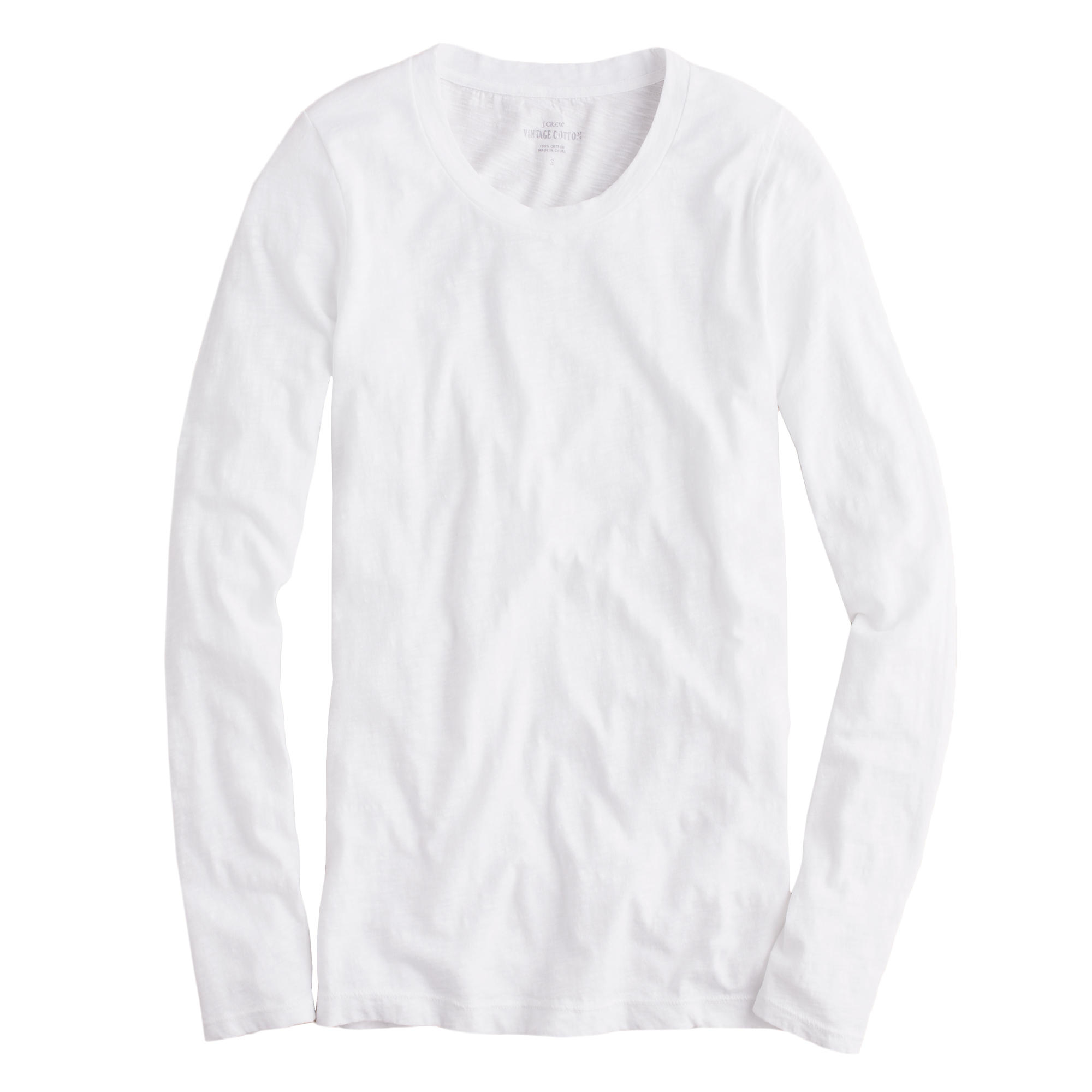 Petite Vintage Cotton Long Sleeve T Shirt In White