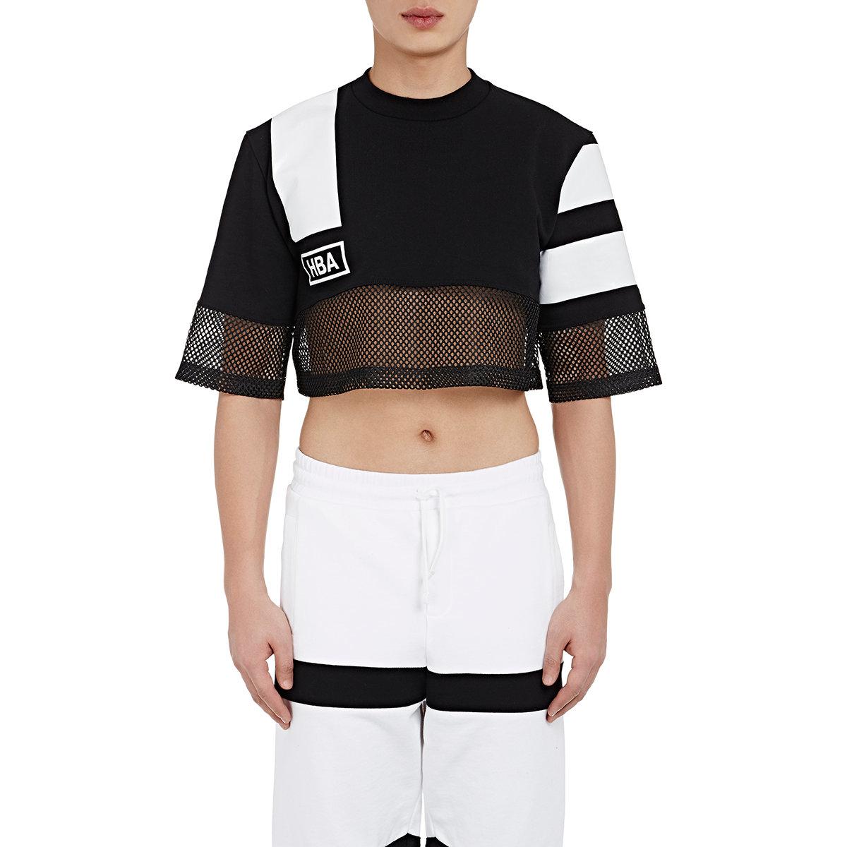 9da12738483 Hood By Air Men's Mesh-trimmed Crop Sweatshirt in Black - Lyst