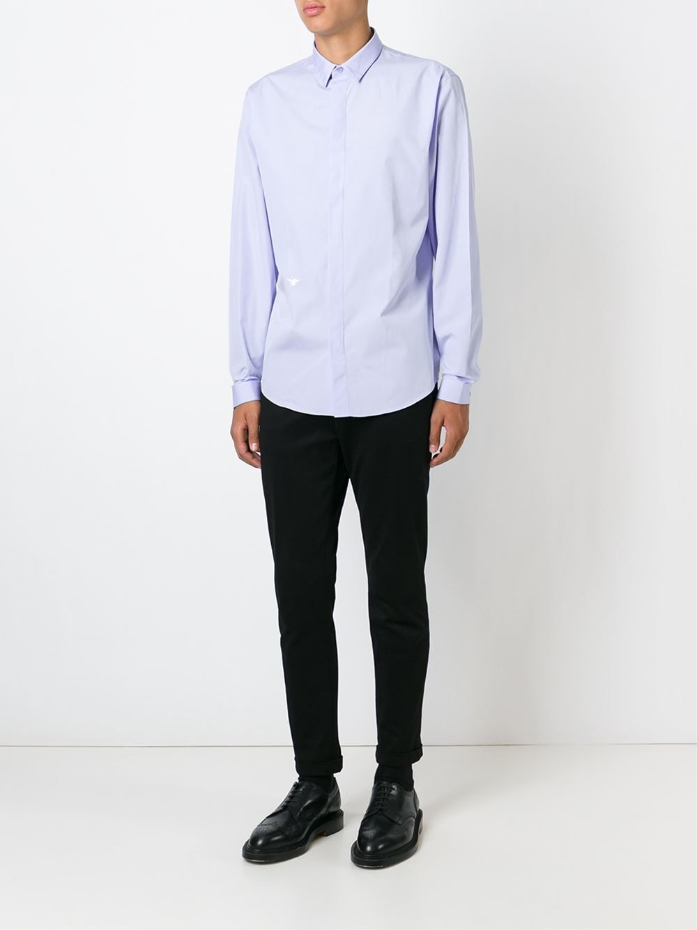 Dior homme bee embroidery shirt in blue for men lyst