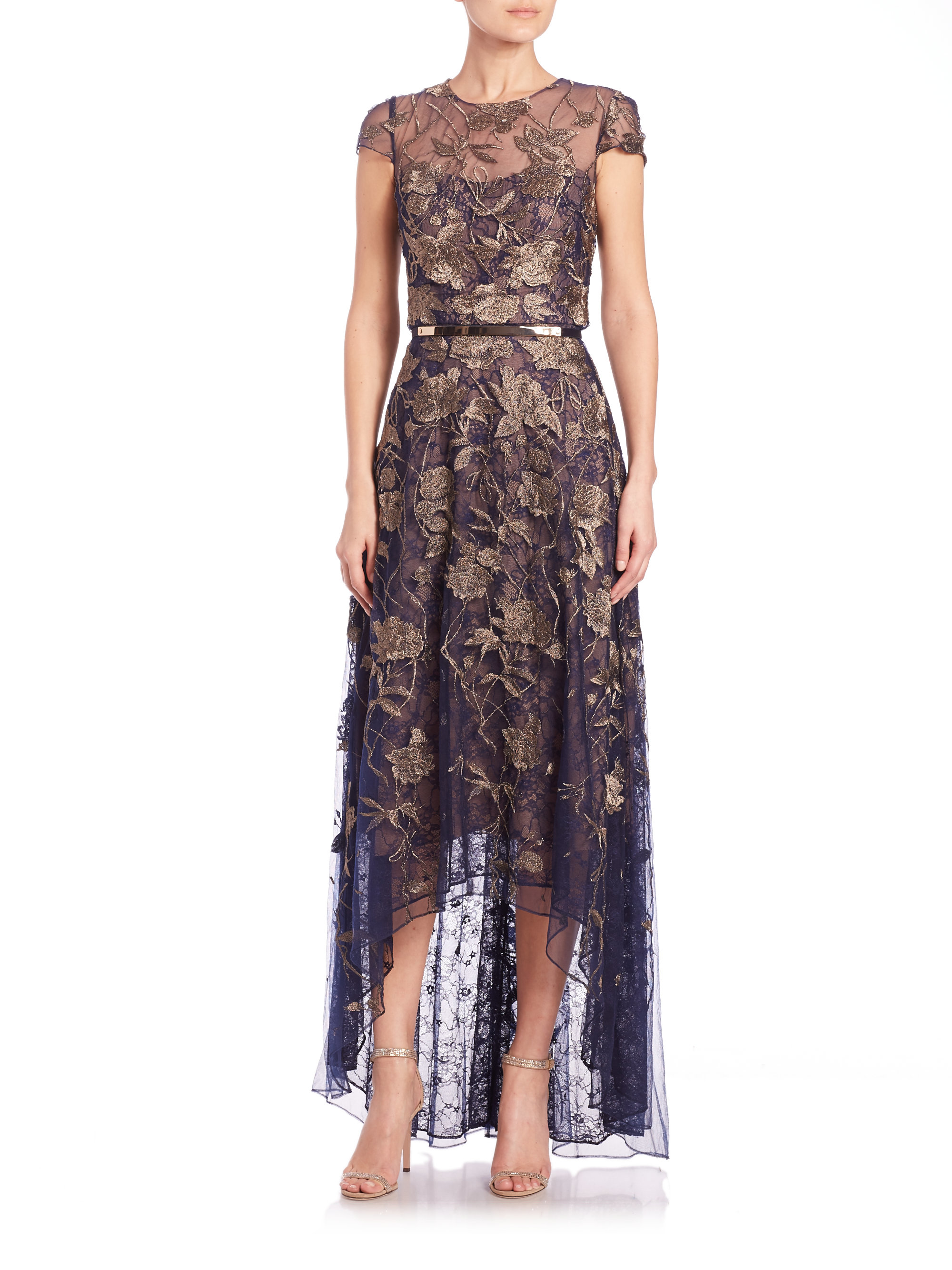 9c72a18e Marchesa notte Embroidered Tulle Gown in Metallic - Lyst
