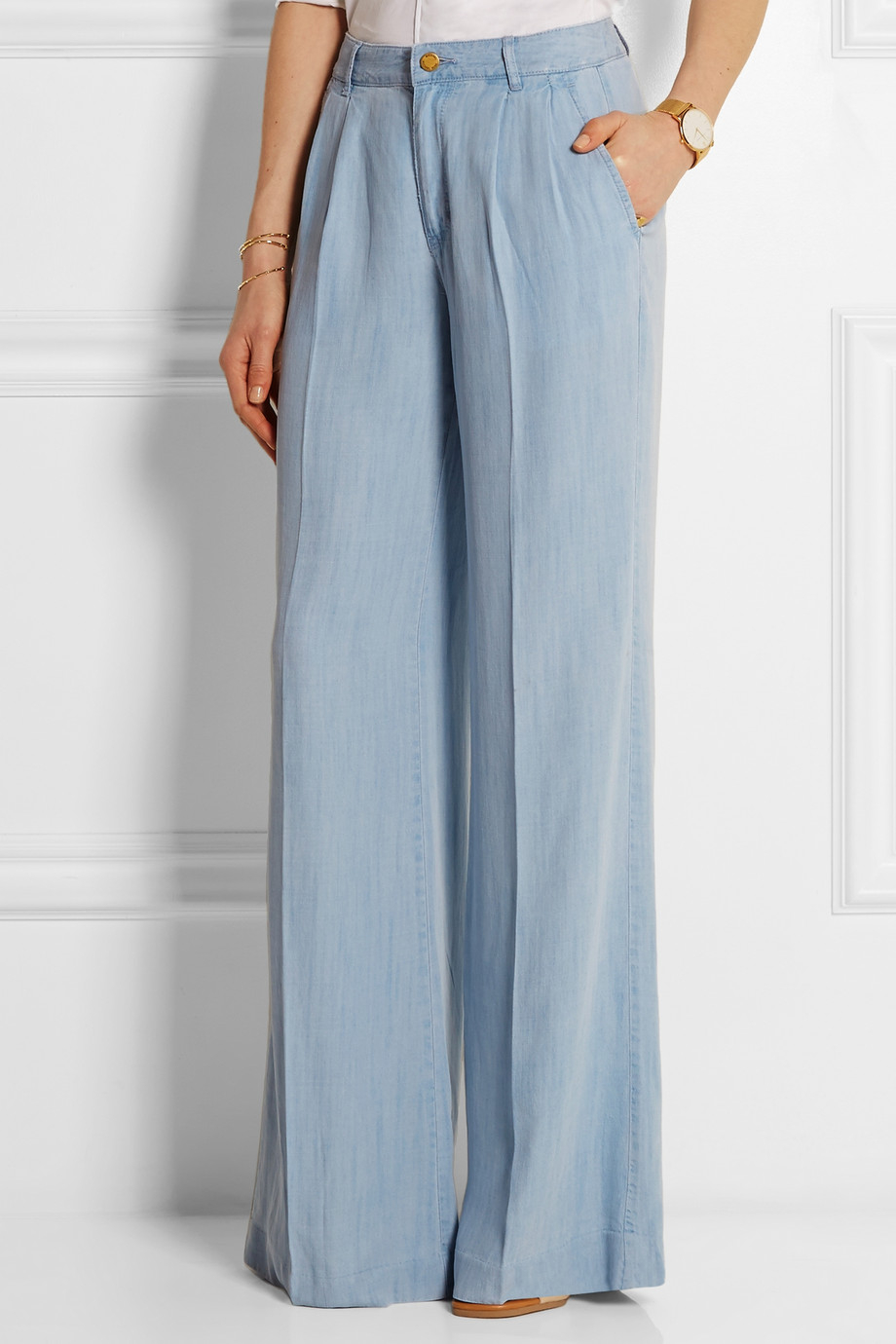 Michael michael kors Chambray Wide-Leg Pants in Blue | Lyst