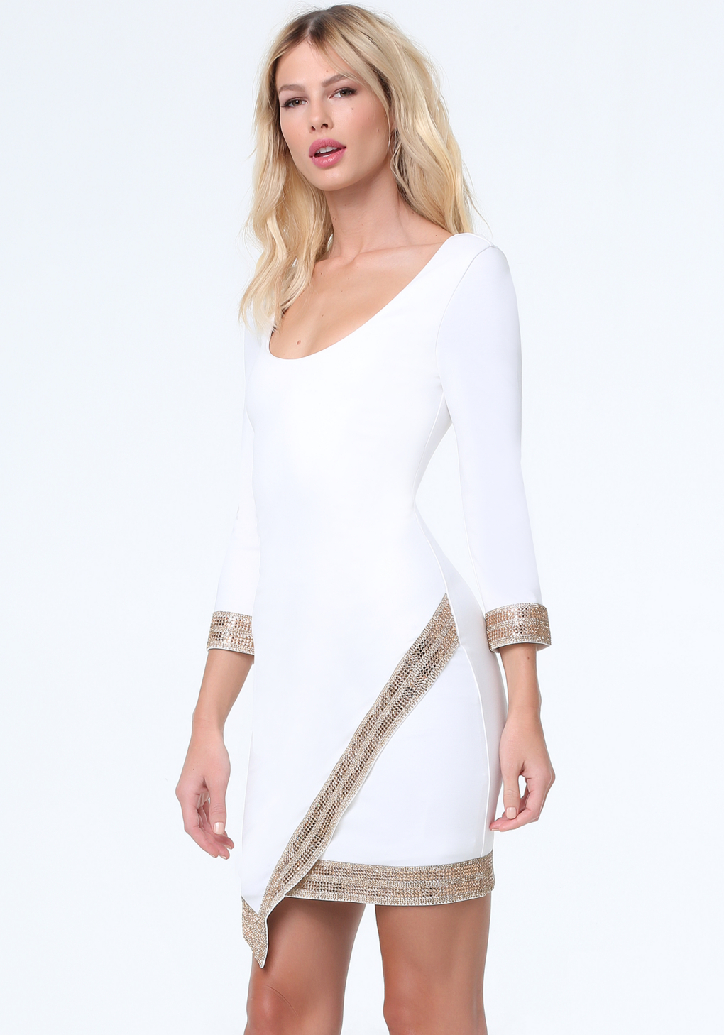 ee6f4fdf43f Bebe Embellished Wrap Hem Dress in White - Lyst