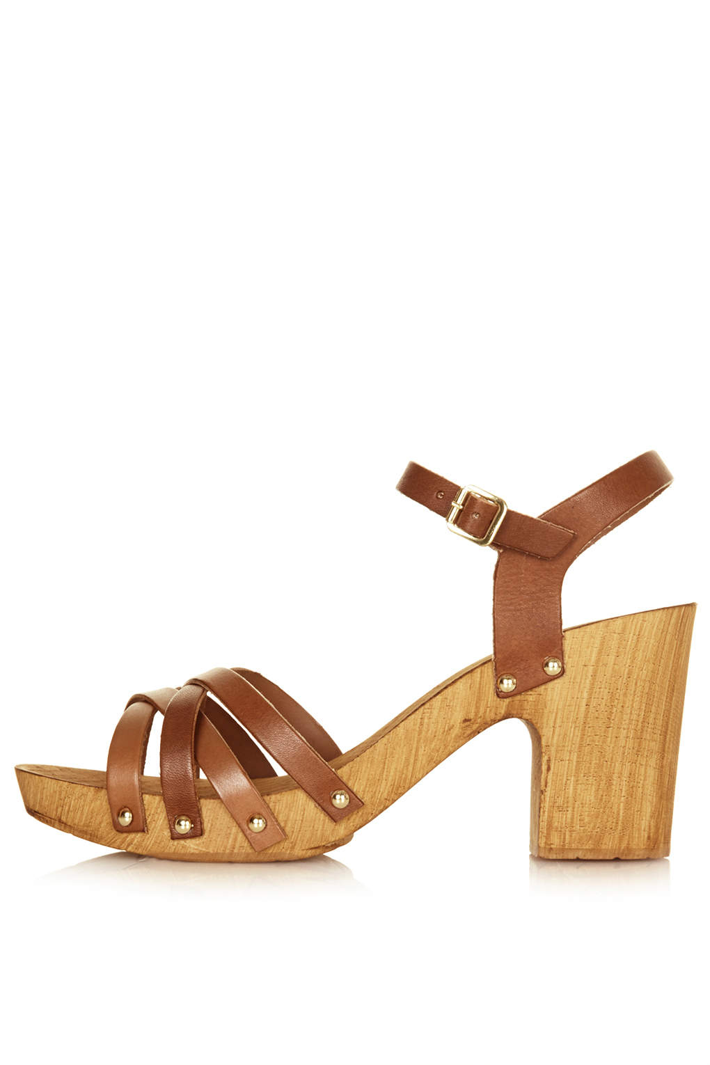 7685846a155 Lyst - TOPSHOP Nancy Chunky Wooden Sandals in Brown
