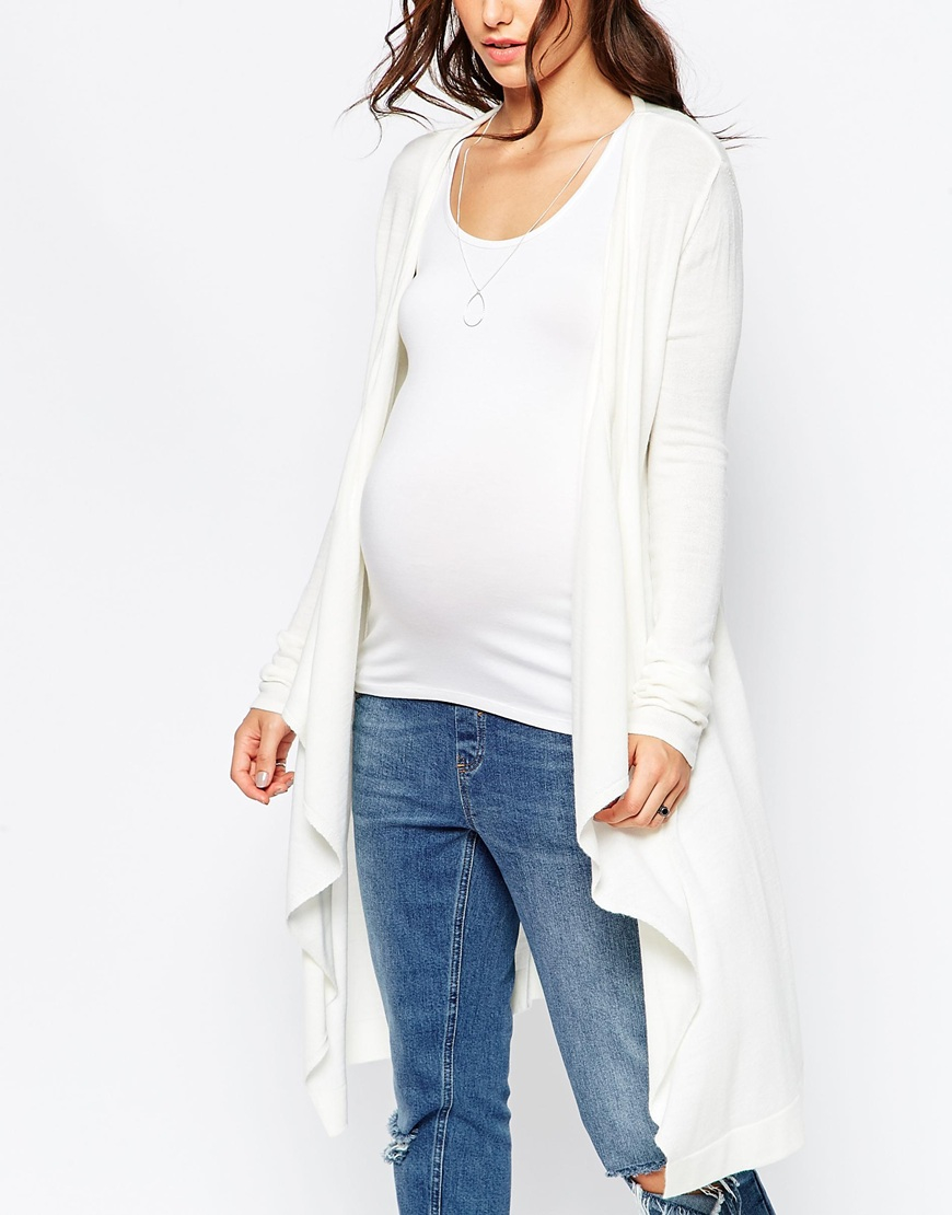 Asos Longline Waterfall Cardigan in White | Lyst