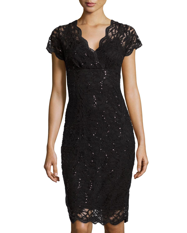 V Neck Black Lace Cocktail Dress 9