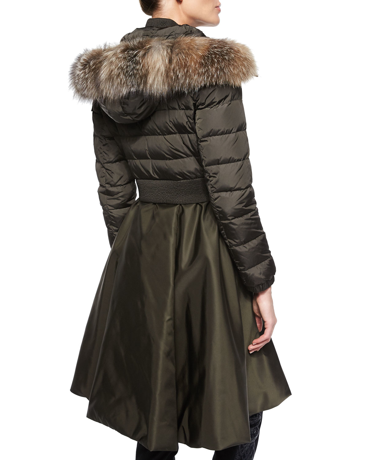 Lyst Moncler Sully Full Skirted Quilted Coat In Green
