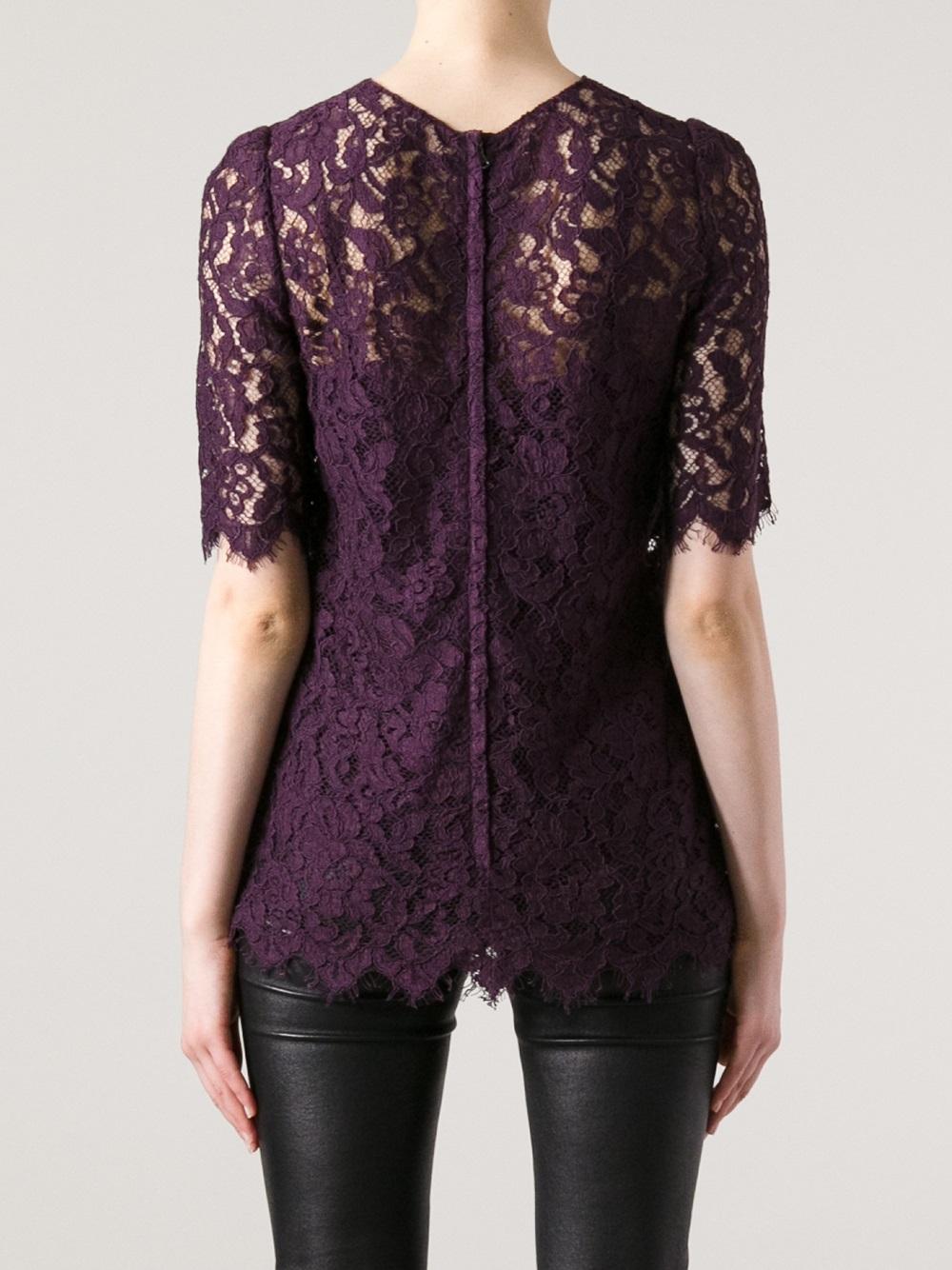 Lyst Dolce Amp Gabbana Lace Blouse In Purple