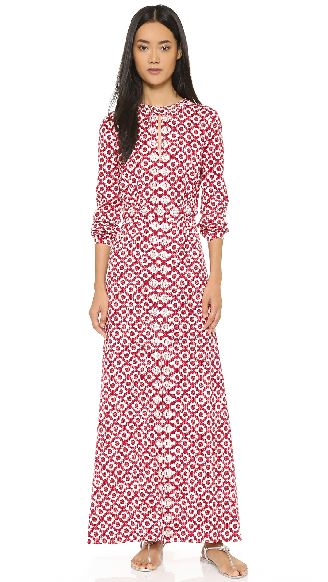 adc38fcfb5db Lyst - Tory Burch Embellished Textured Maxi Dress - Red Currant ...