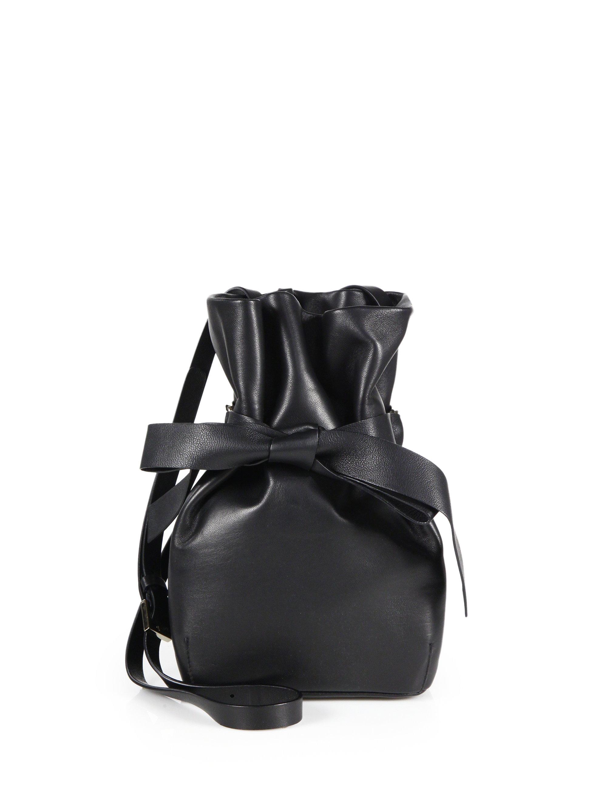 4928f7da06b Jimmy Choo Nappa Leather Bow Bucket Bag in Black - Lyst