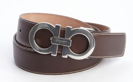 ferragamo leather stitched accent gancio buckle classic