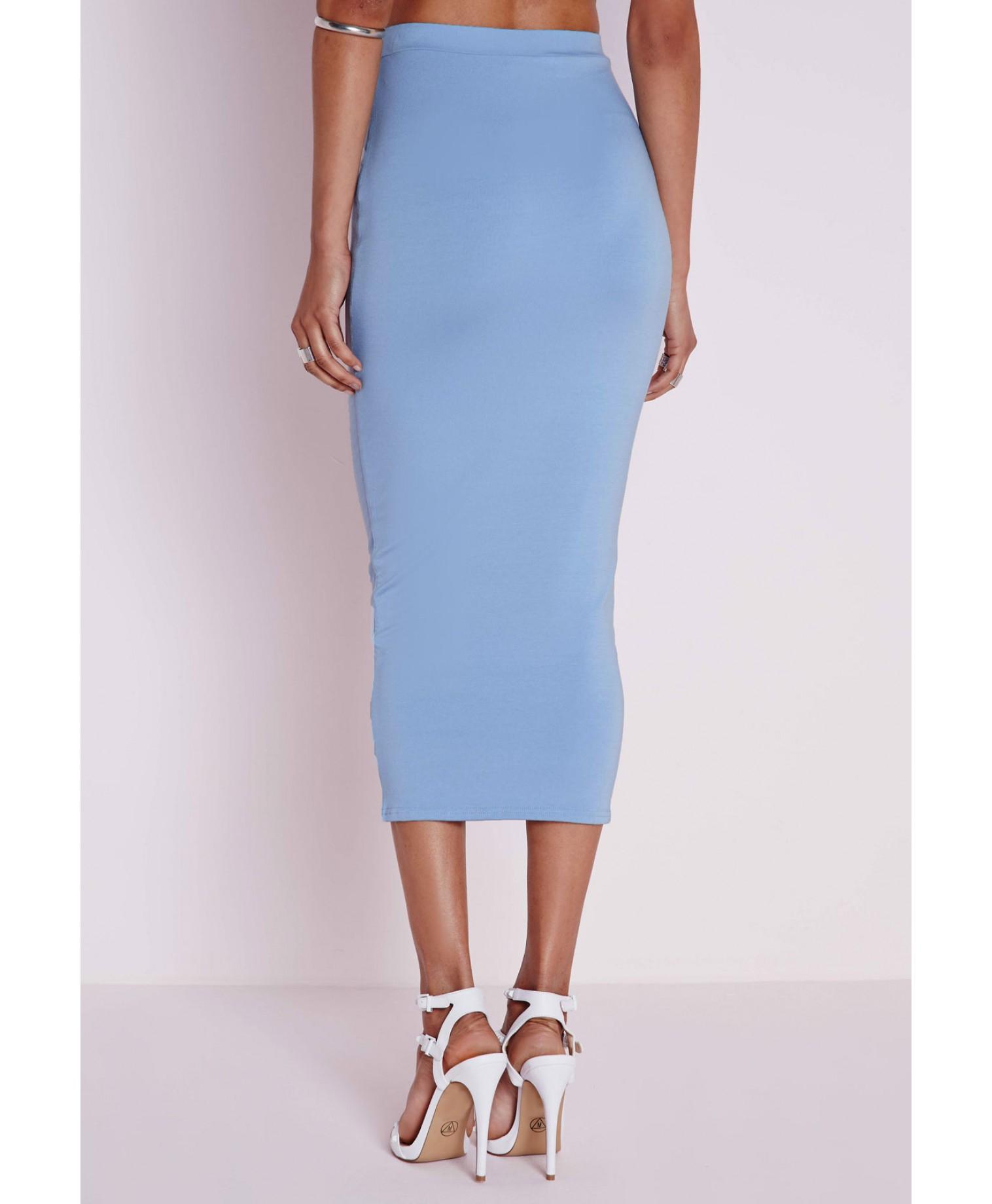 missguided longline jersey midi skirt baby blue in blue lyst