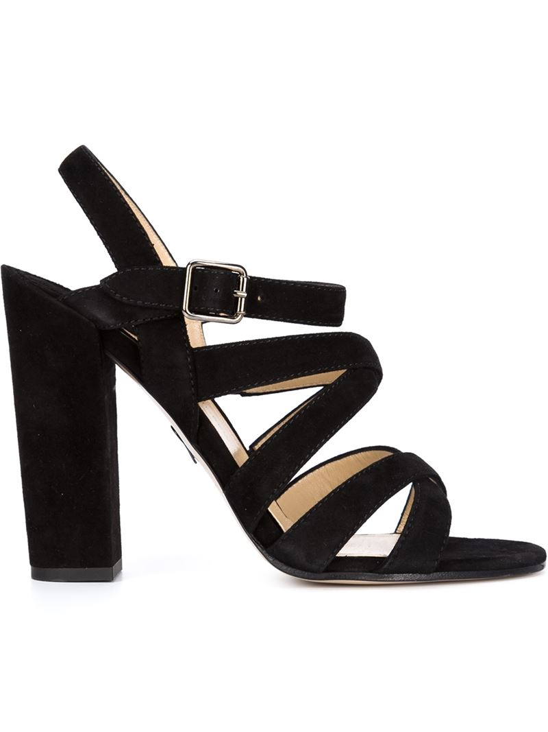 Paul andrew Strappy Chunky-Heel Sandals in Black | Lyst