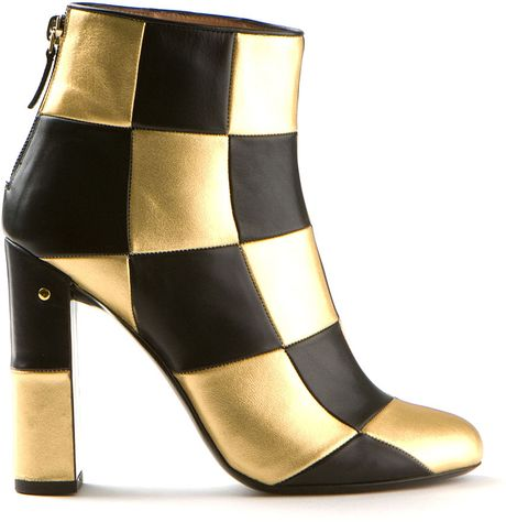 laurence dacade flaubert black and gold checked leather