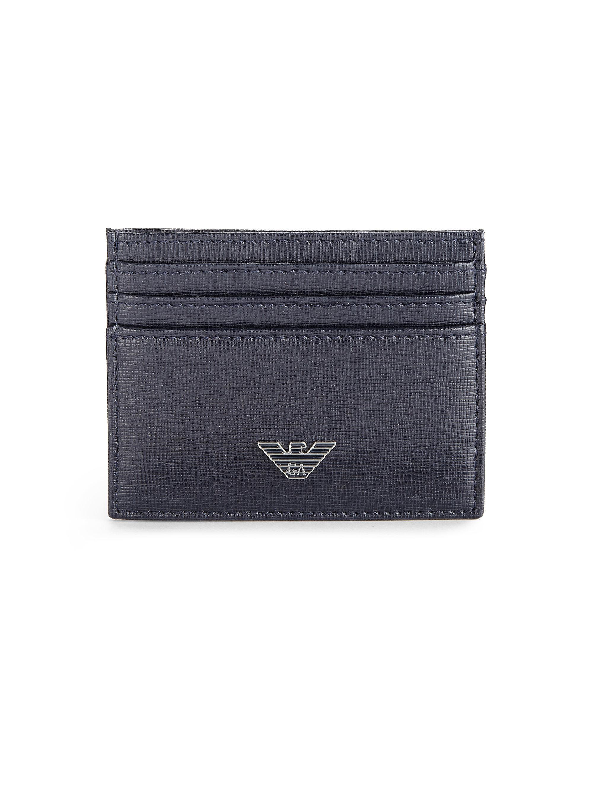 Lyst - Emporio Armani Leather Card Holder in Blue for Men e018af7181