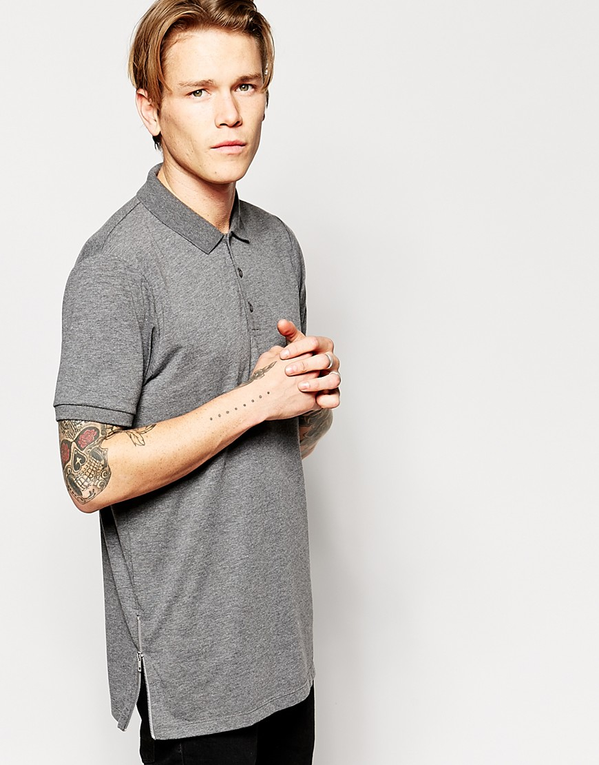 Lyst Asos Longline Polo Shirt In Jersey With Side Zips