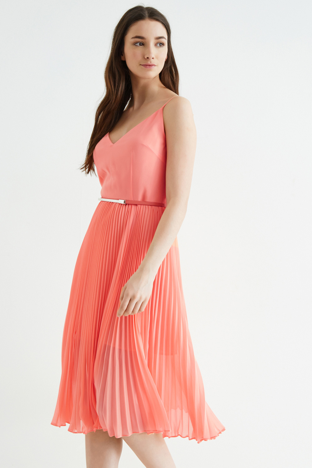 1427dc62c502 Oasis Pleated Midi Dress in Pink - Lyst