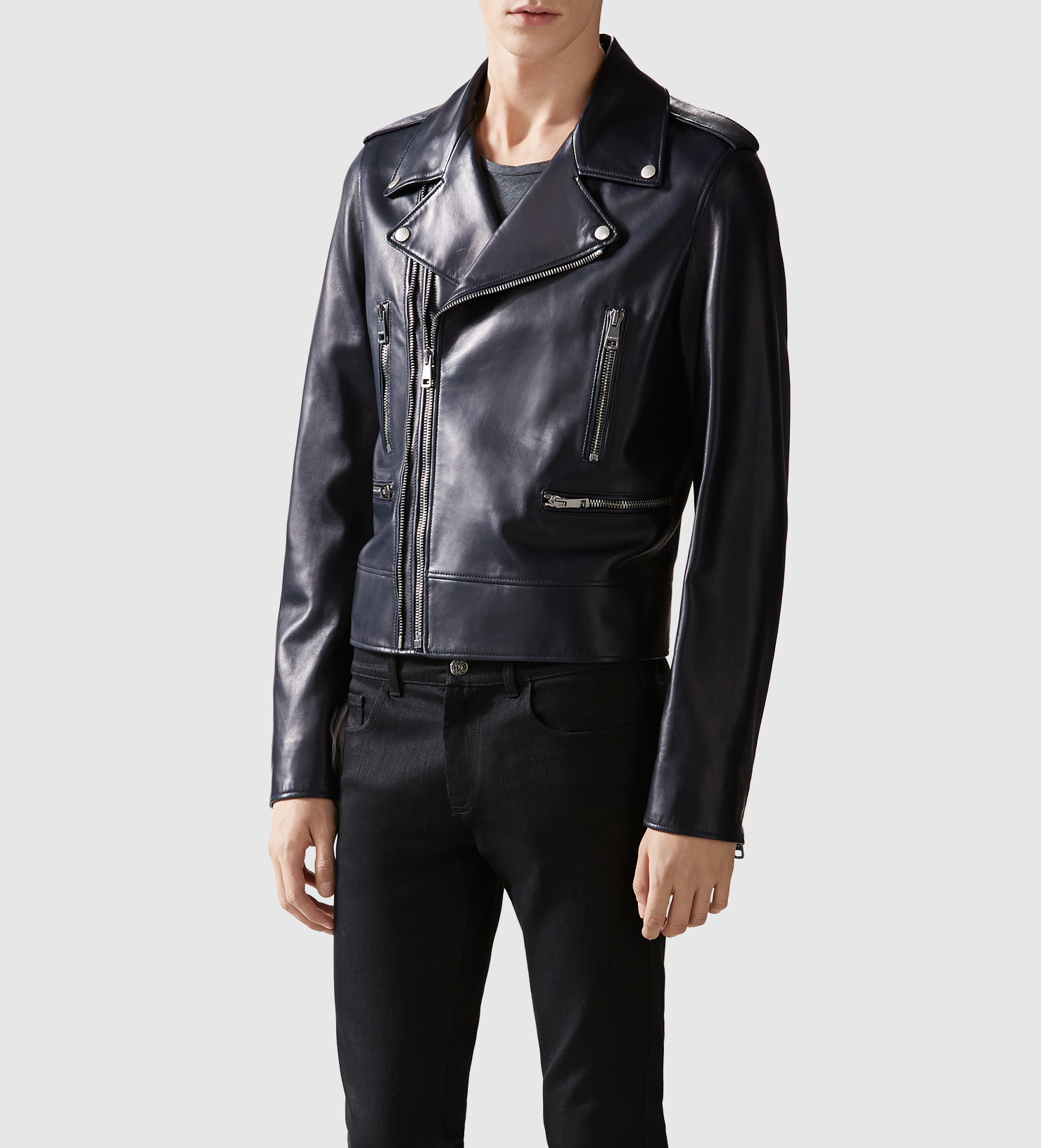 lyst gucci leather biker jacket in black for men