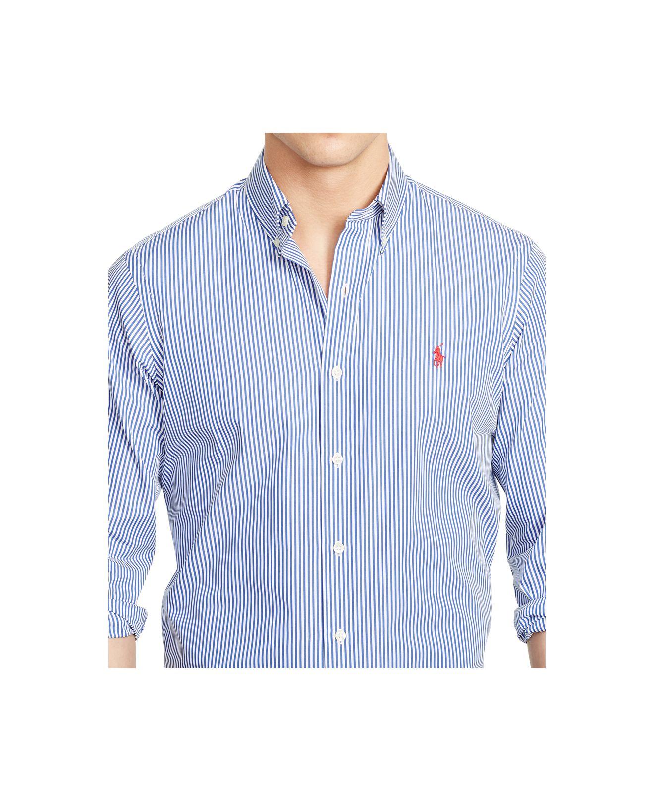38d600c161184 ... norway lyst polo ralph lauren slim fit striped poplin shirt in blue for  men bbb77 17687