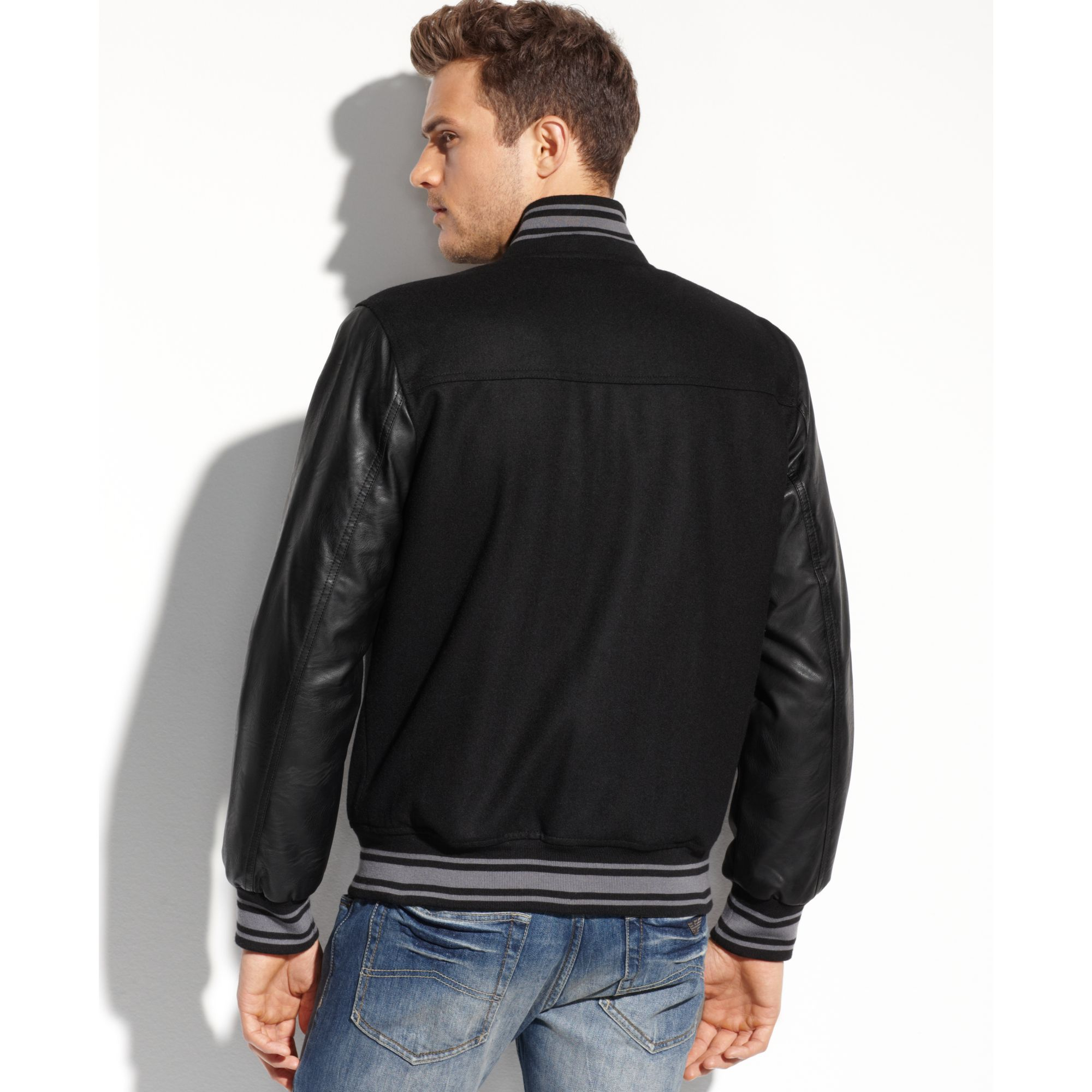 Guess Coats Wool Varsity Bomber Jacket in Black for Men | Lyst