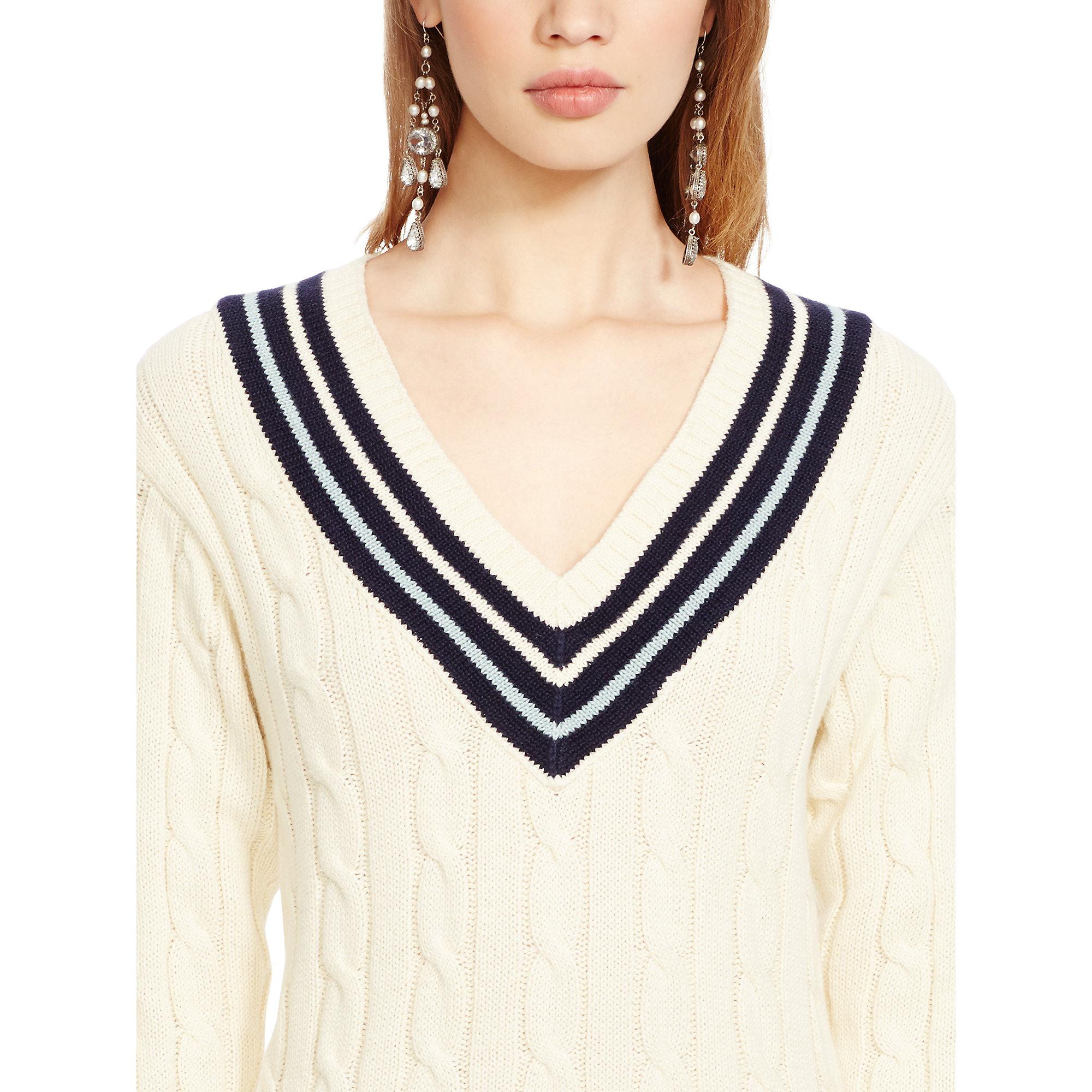 72fdea56abe3e ... purchase lyst polo ralph lauren cotton v neck cricket sweater in  natural e532e a9ed6