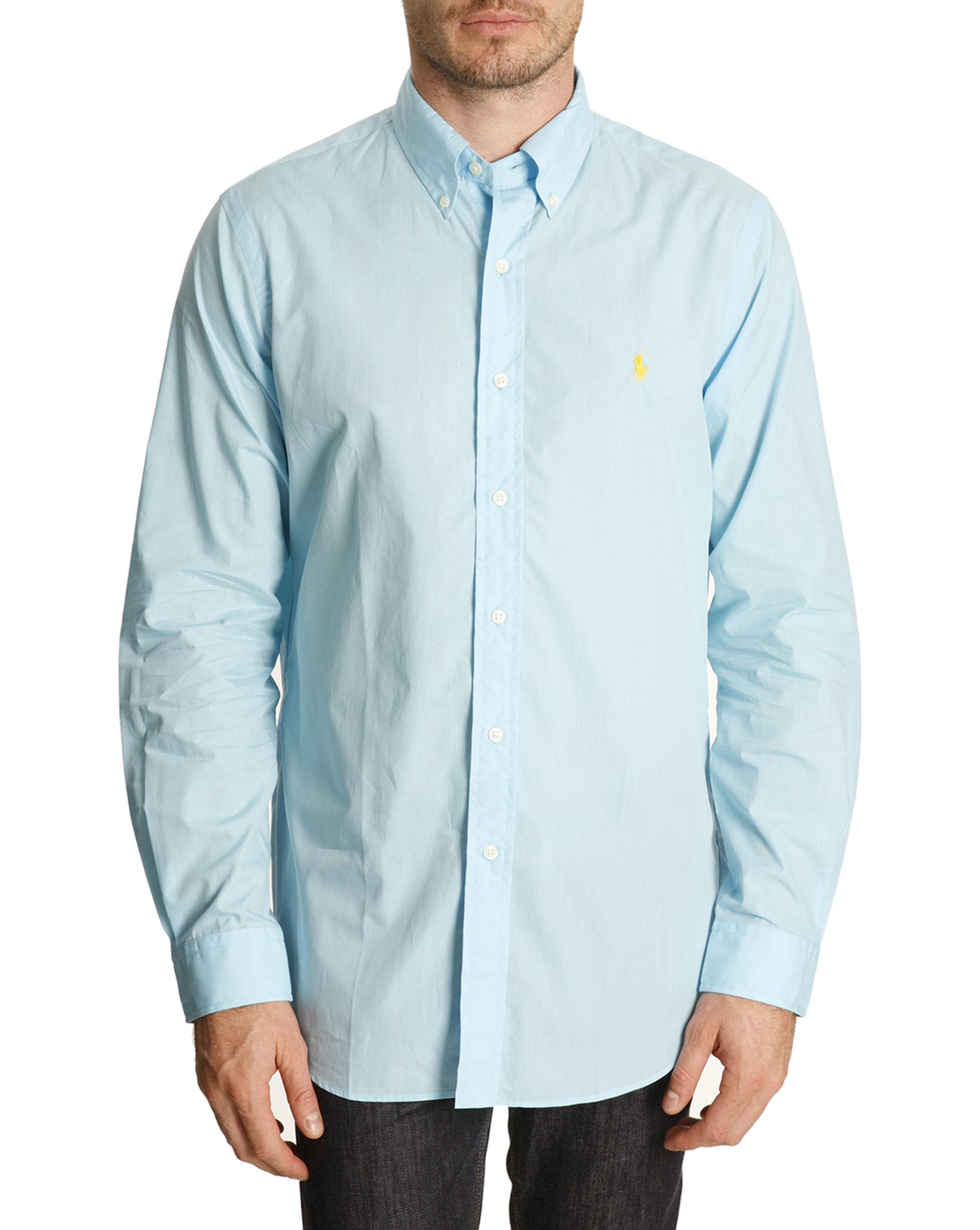 Polo ralph lauren turquoise blue color poplin slim shirt for Aqua blue mens dress shirt
