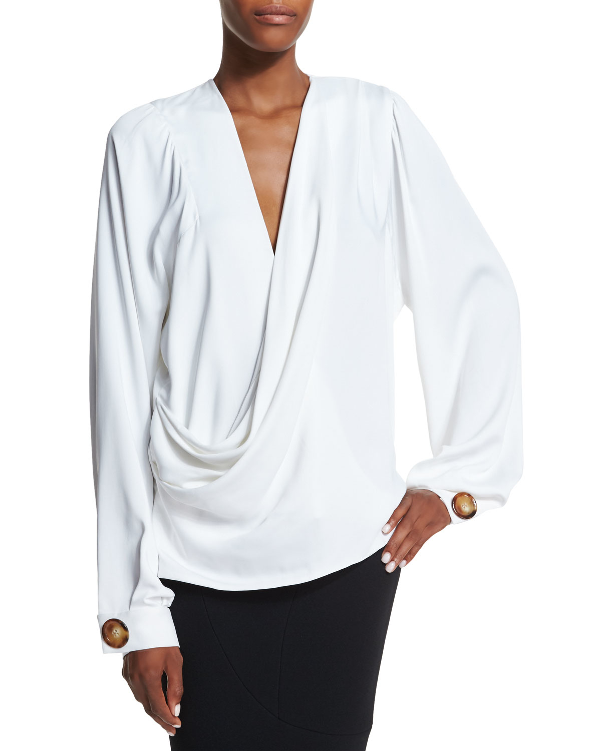 Lyst Victoria Beckham Draped Front Full Sleeve Blouse In