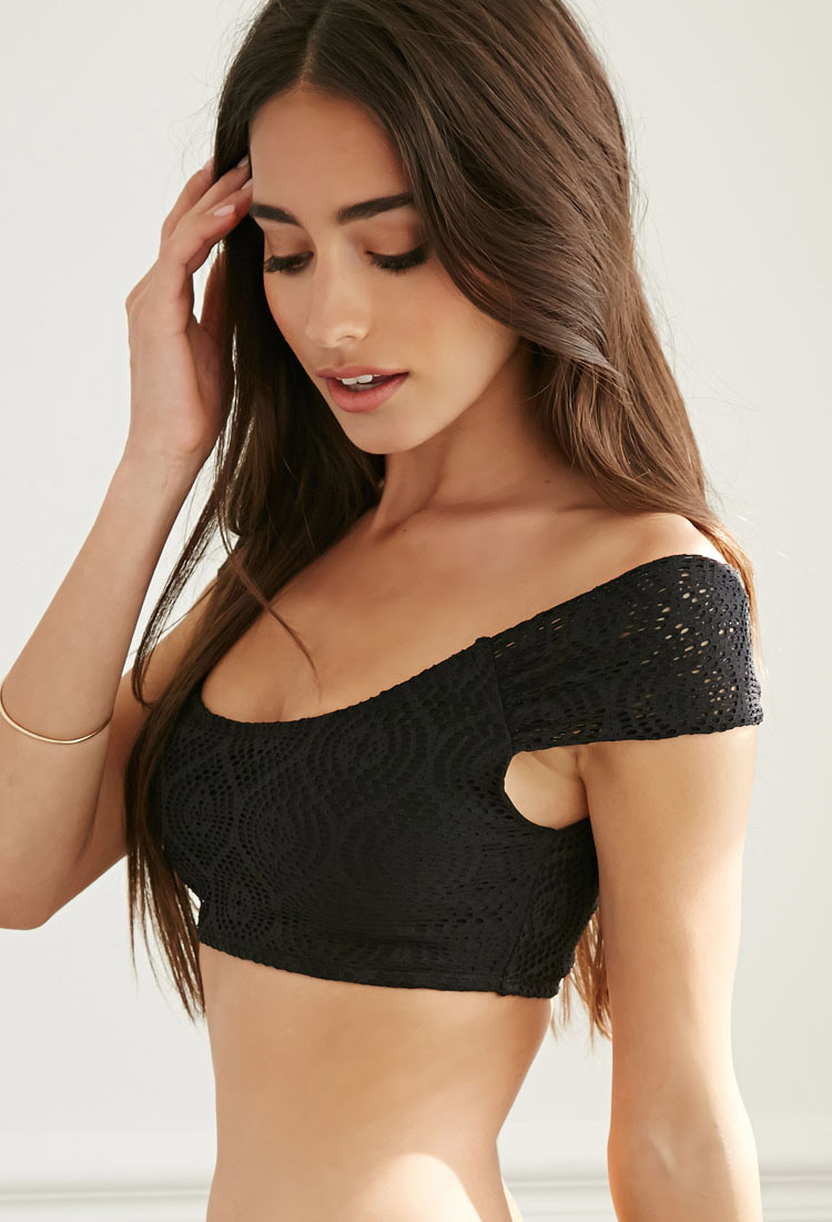 69e626882c9fd Lyst - Forever 21 Crochet Off-the-shoulder Bikini Crop Top You ve ...