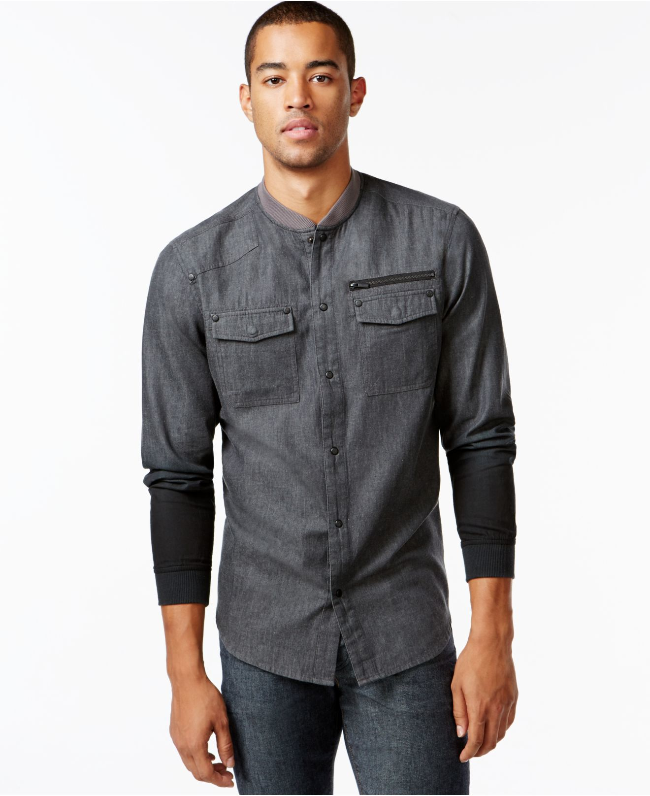 Sean john Big & Tall Denim Shirt Jacket in Gray for Men | Lyst