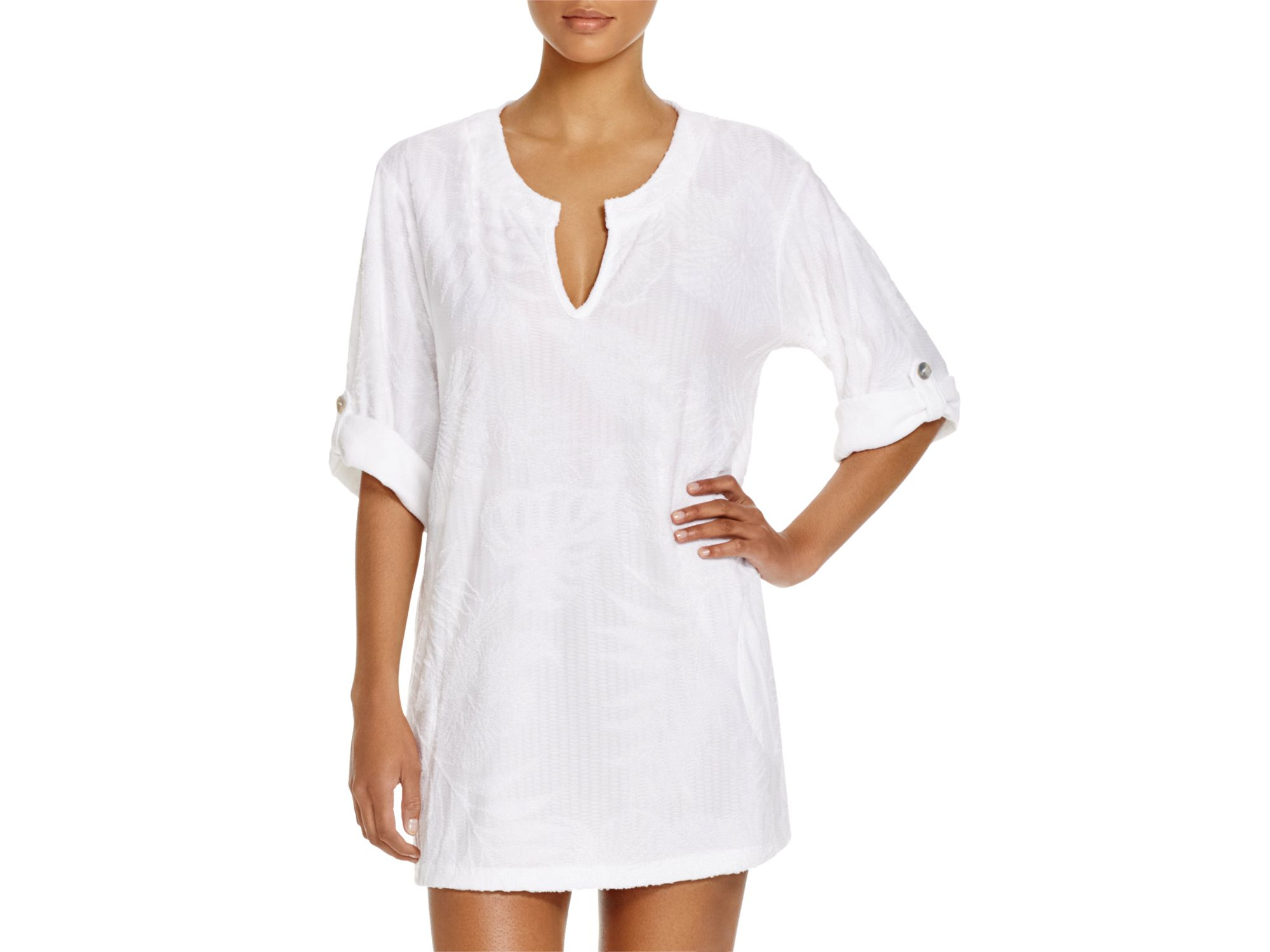 984f2c2208 J Valdi Tropical Terry Tunic Swim Cover Up in White - Lyst