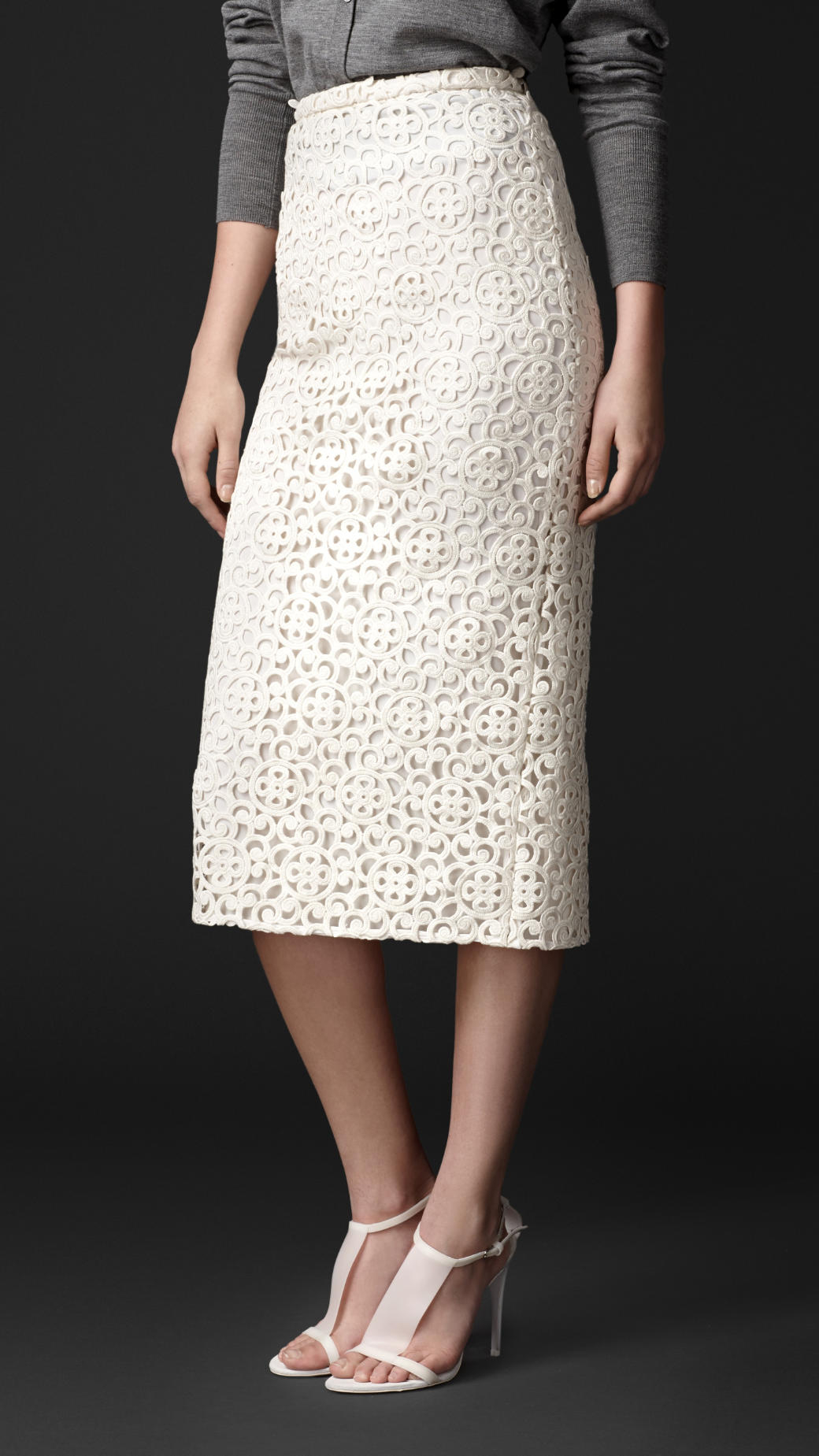 5919c7c9a2 Burberry Macramé Lace Pencil Skirt in White - Lyst