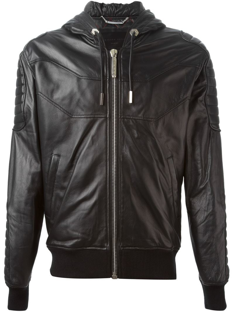 lyst philipp plein hooded jacket in black for men. Black Bedroom Furniture Sets. Home Design Ideas