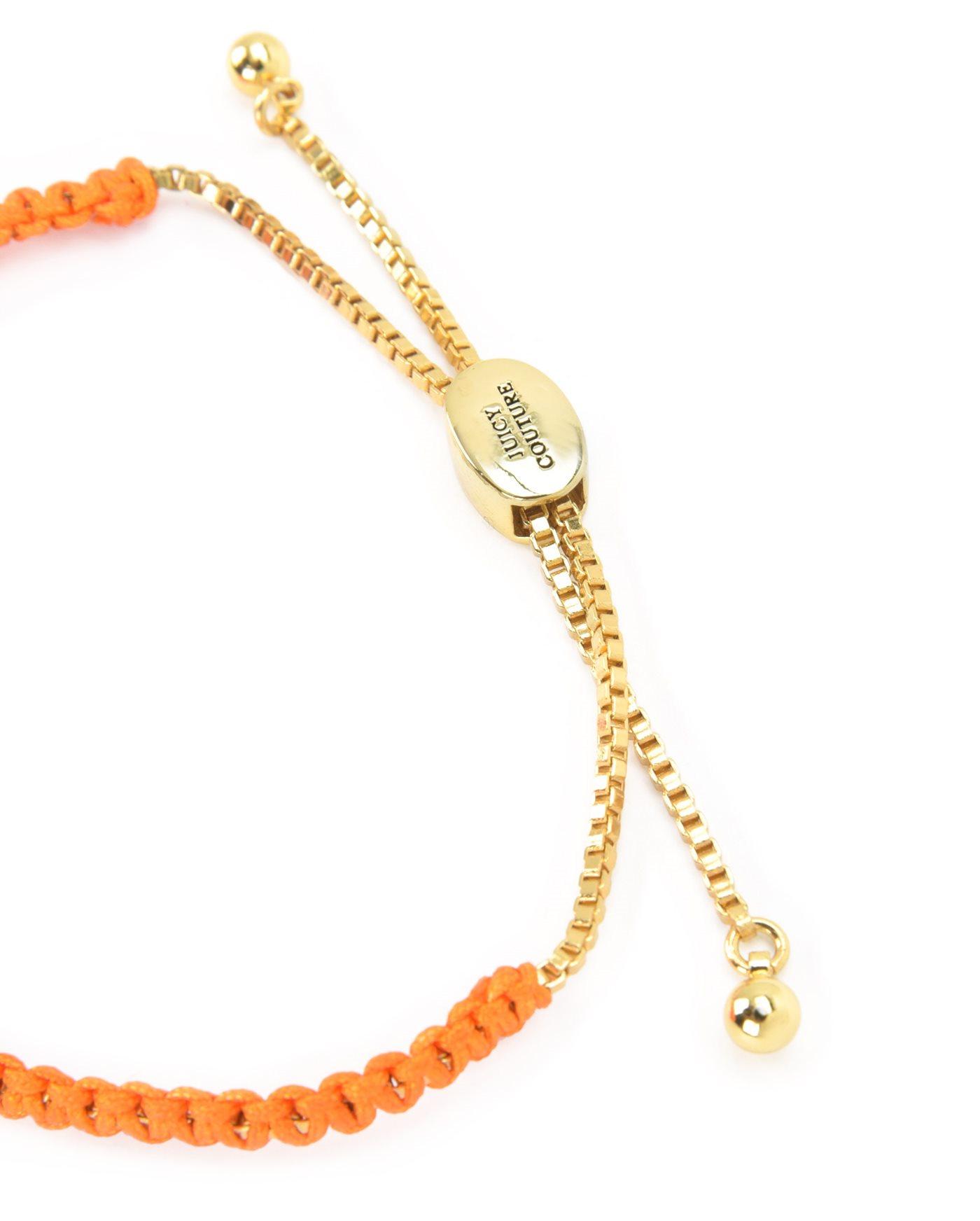 Juicy couture Juicy Heart Macrame Bracelet in Orange | Lyst