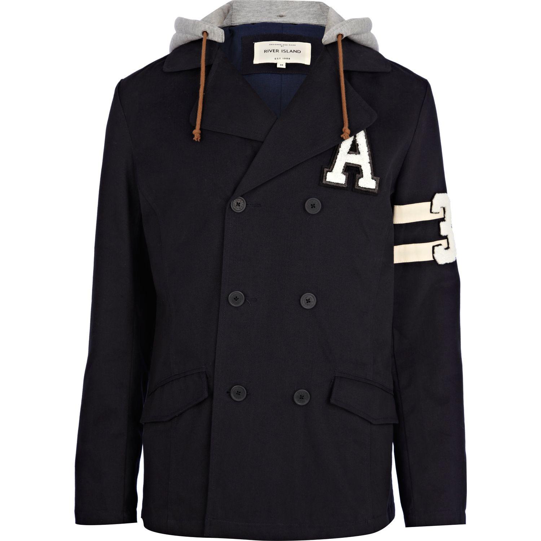 River Island Navy Jersey Hood Varsity Pea Coat in Blue for ...
