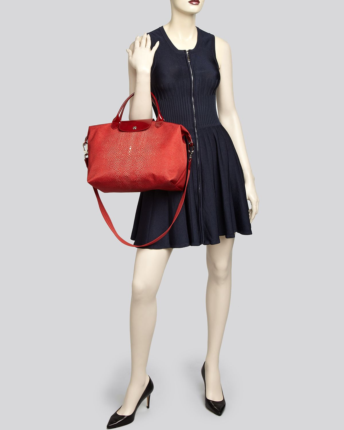 98bc95c23ff9 Lyst - Longchamp Tote Le Pliage Neo Printed Medium in Red