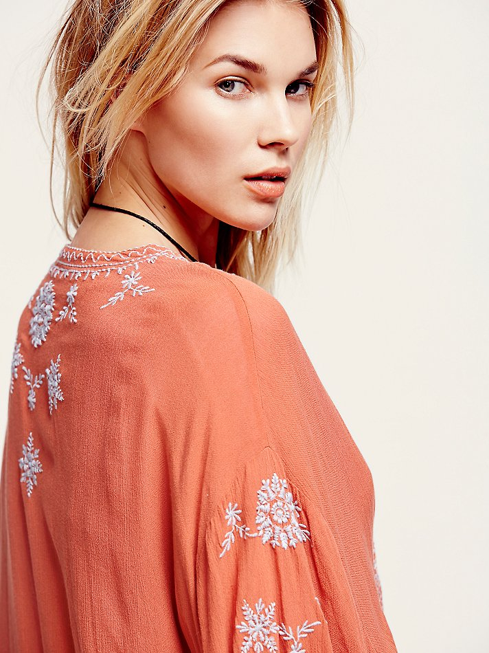 Free People Embroidered Kimono Jacket In Red Lyst