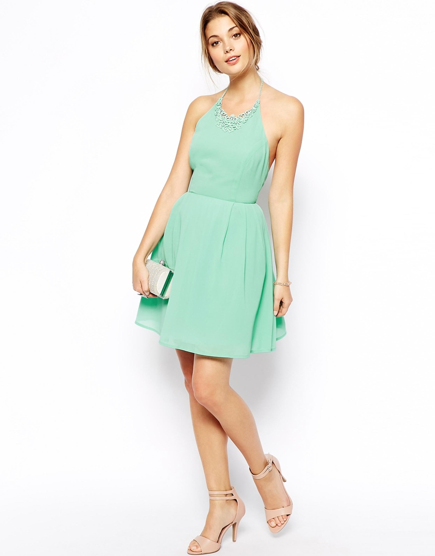 Lyst Asos Prom Dress With Necklace Detail Green In Green