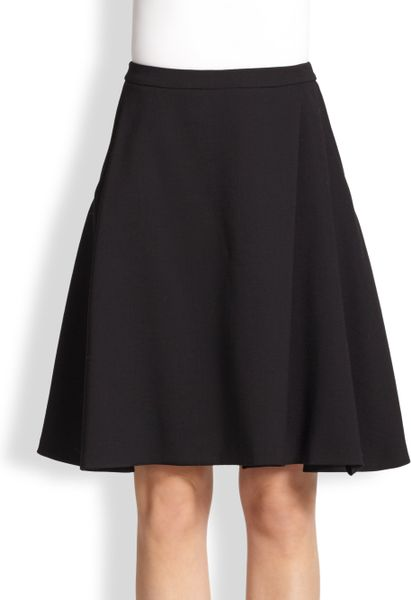 Black Wool A Line Skirt 30