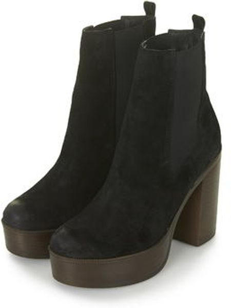 topshop 70s chunky ankle boots in black lyst