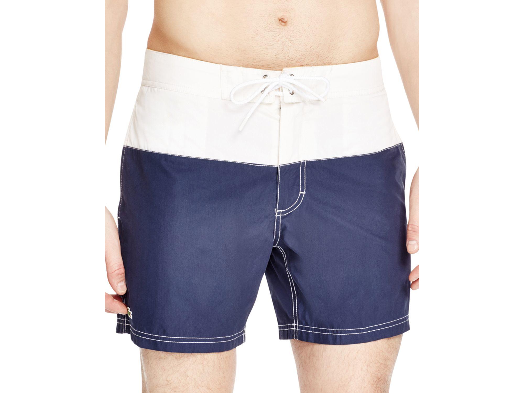 35d22042c91 Lacoste Color Block Swim Trunks in White for Men - Lyst