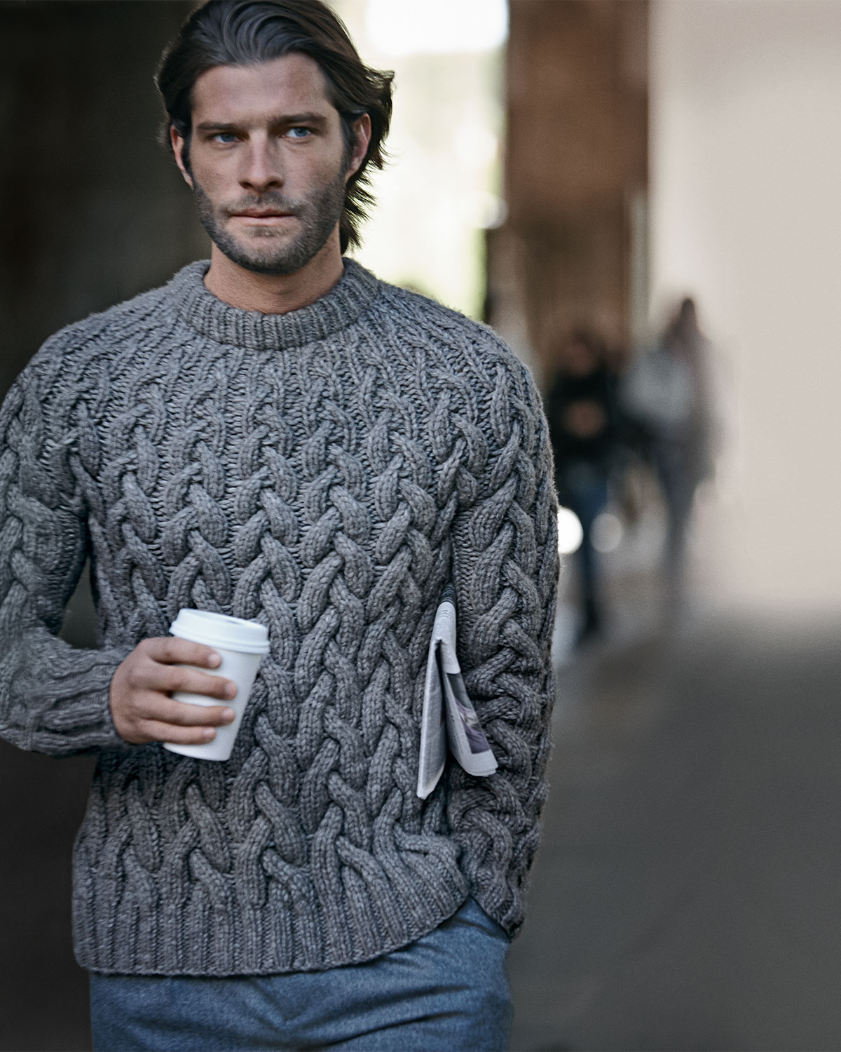 Lyst Michael Kors Chunky Cable Knit Sweater In Gray For Men