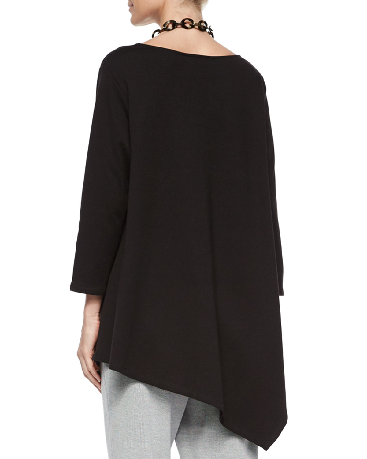 Joan Vass Solid Asymmetric Long Tunic In Black