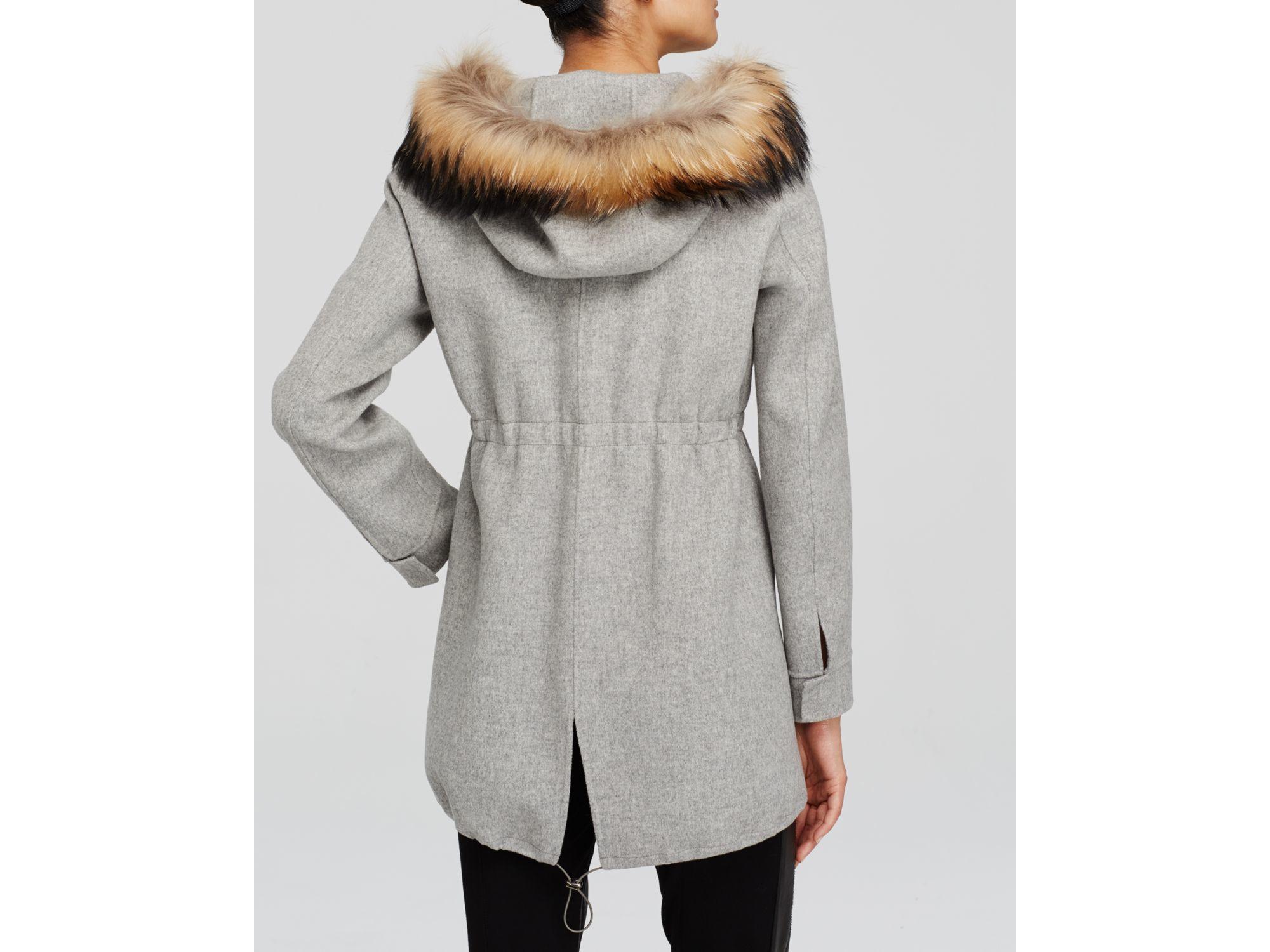 Weekend by maxmara Coat - Lea Fur Hood in Gray | Lyst
