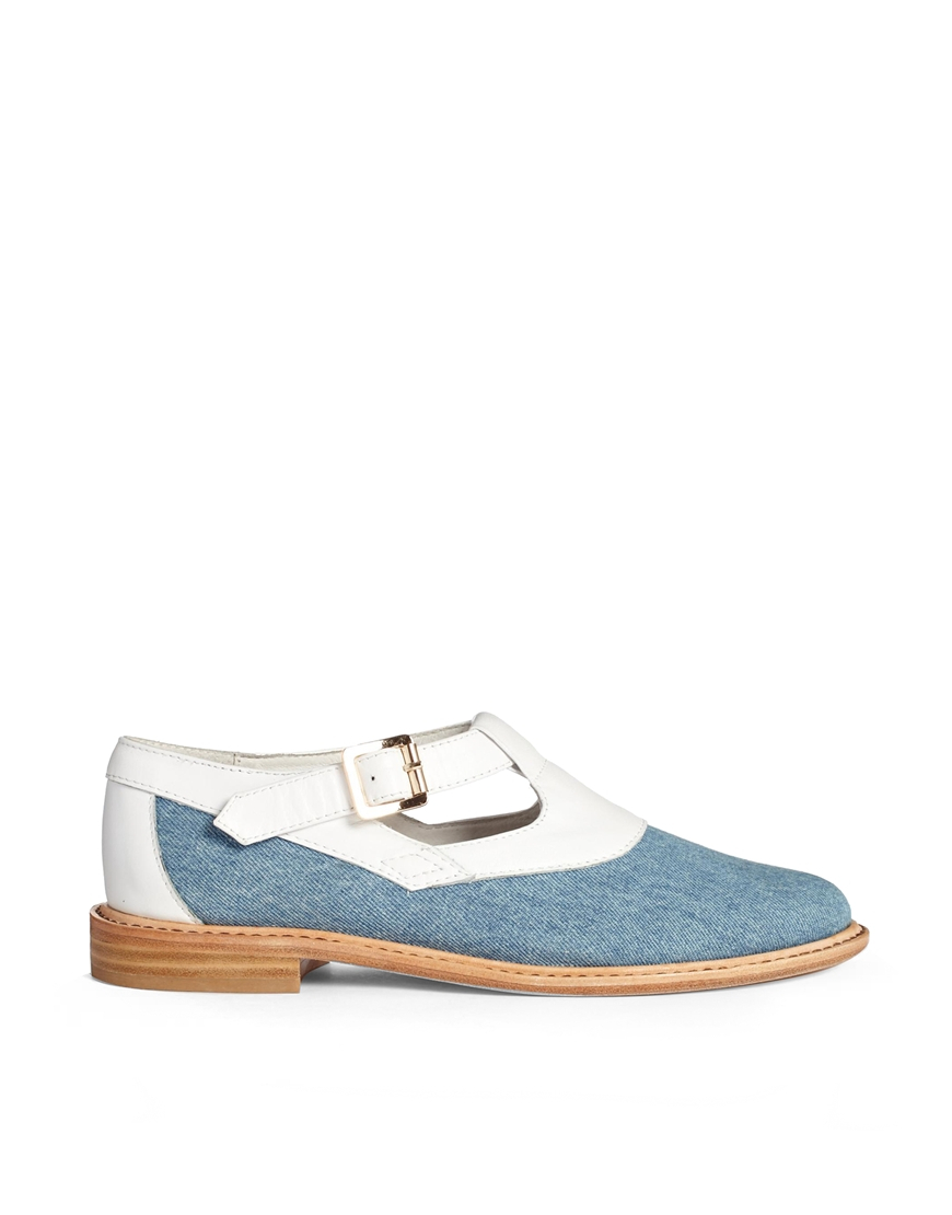 f troupe canvas and leather buckle flat shoes in blue