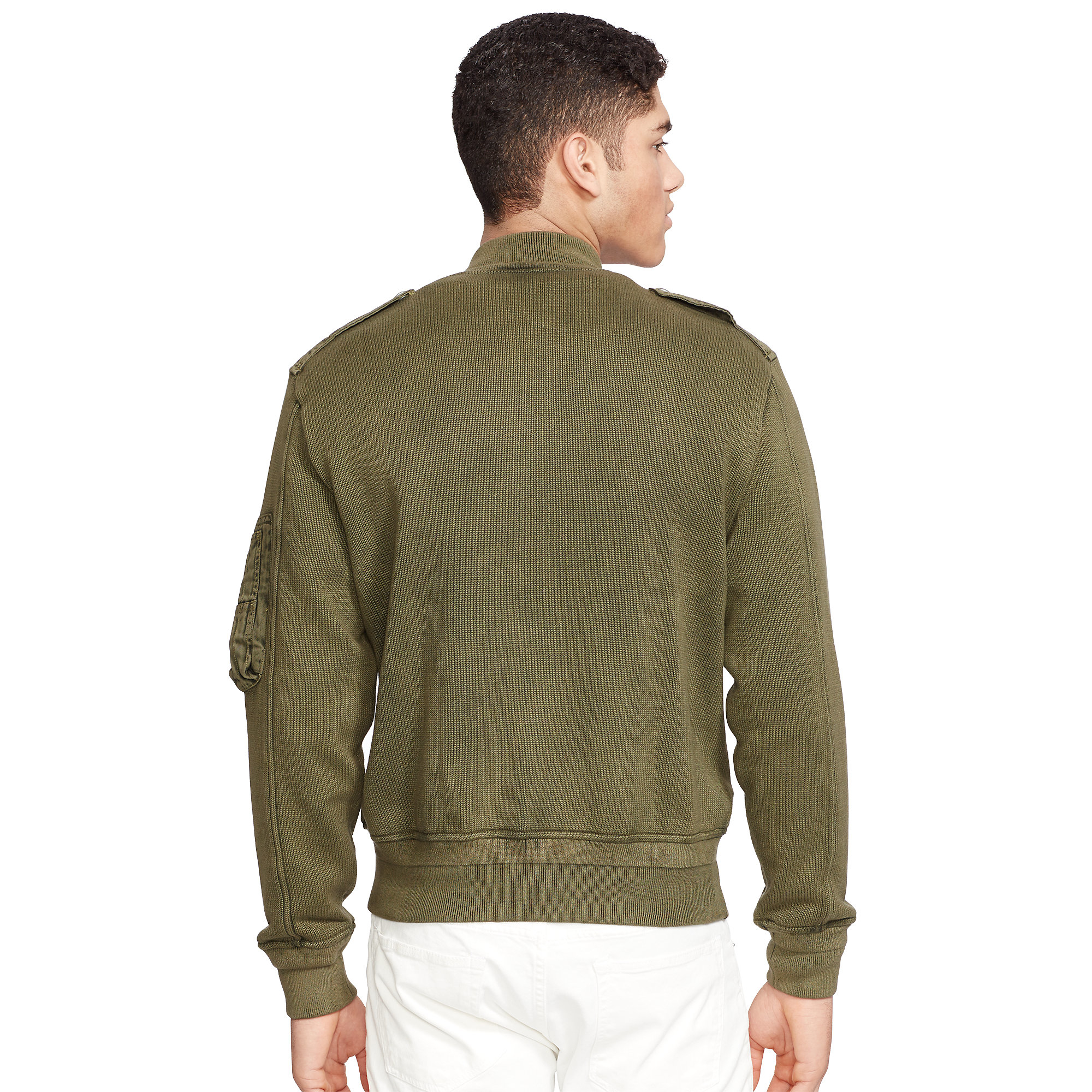 lyst polo ralph lauren cotton sweater jacket in green. Black Bedroom Furniture Sets. Home Design Ideas